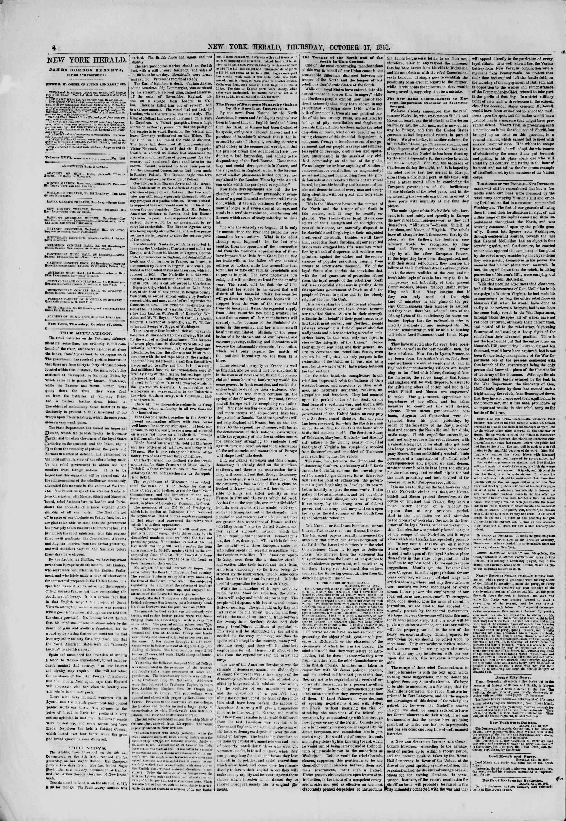 Newspaper of The New York Herald dated October 17, 1861 Page 4