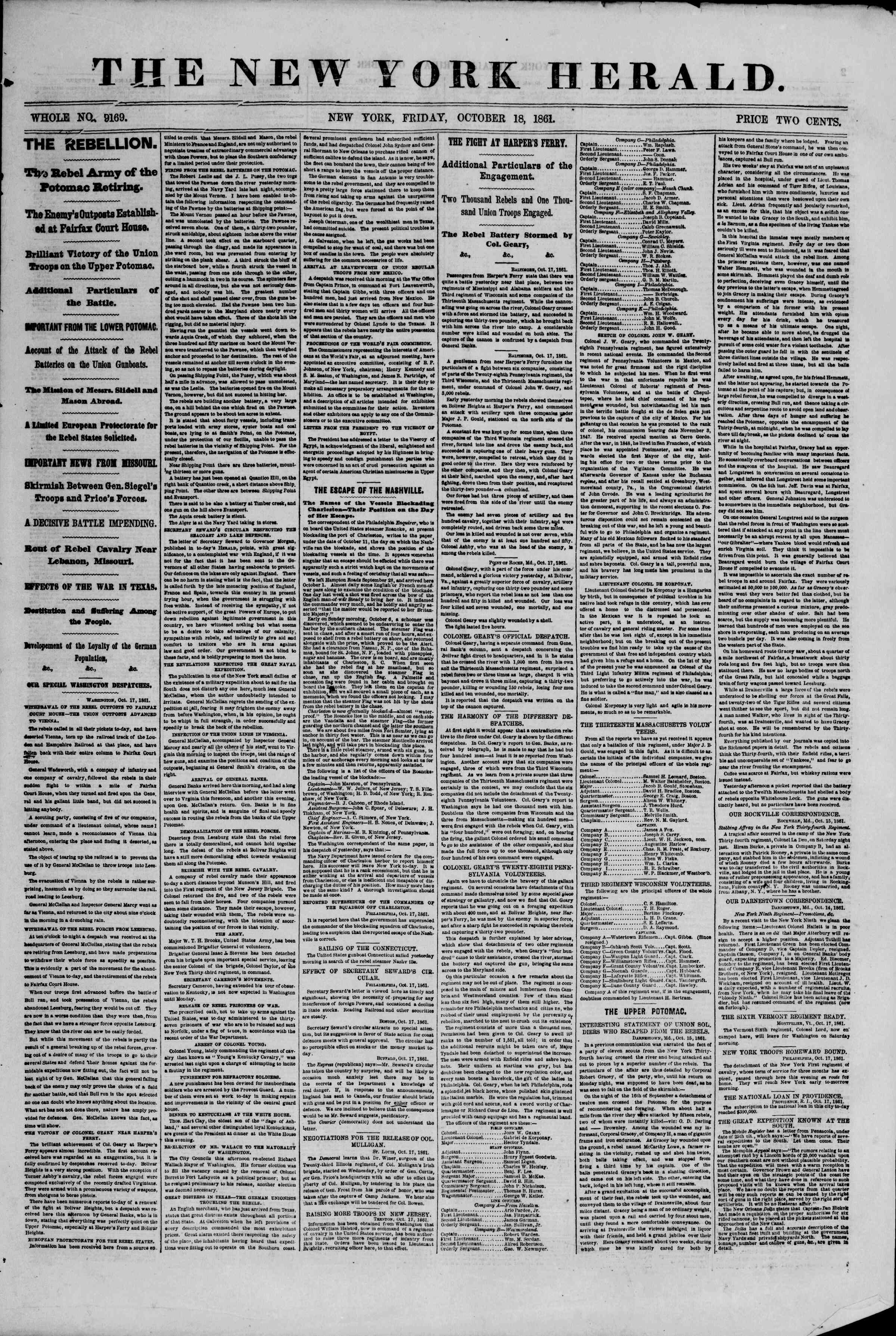 Newspaper of The New York Herald dated October 18, 1861 Page 1