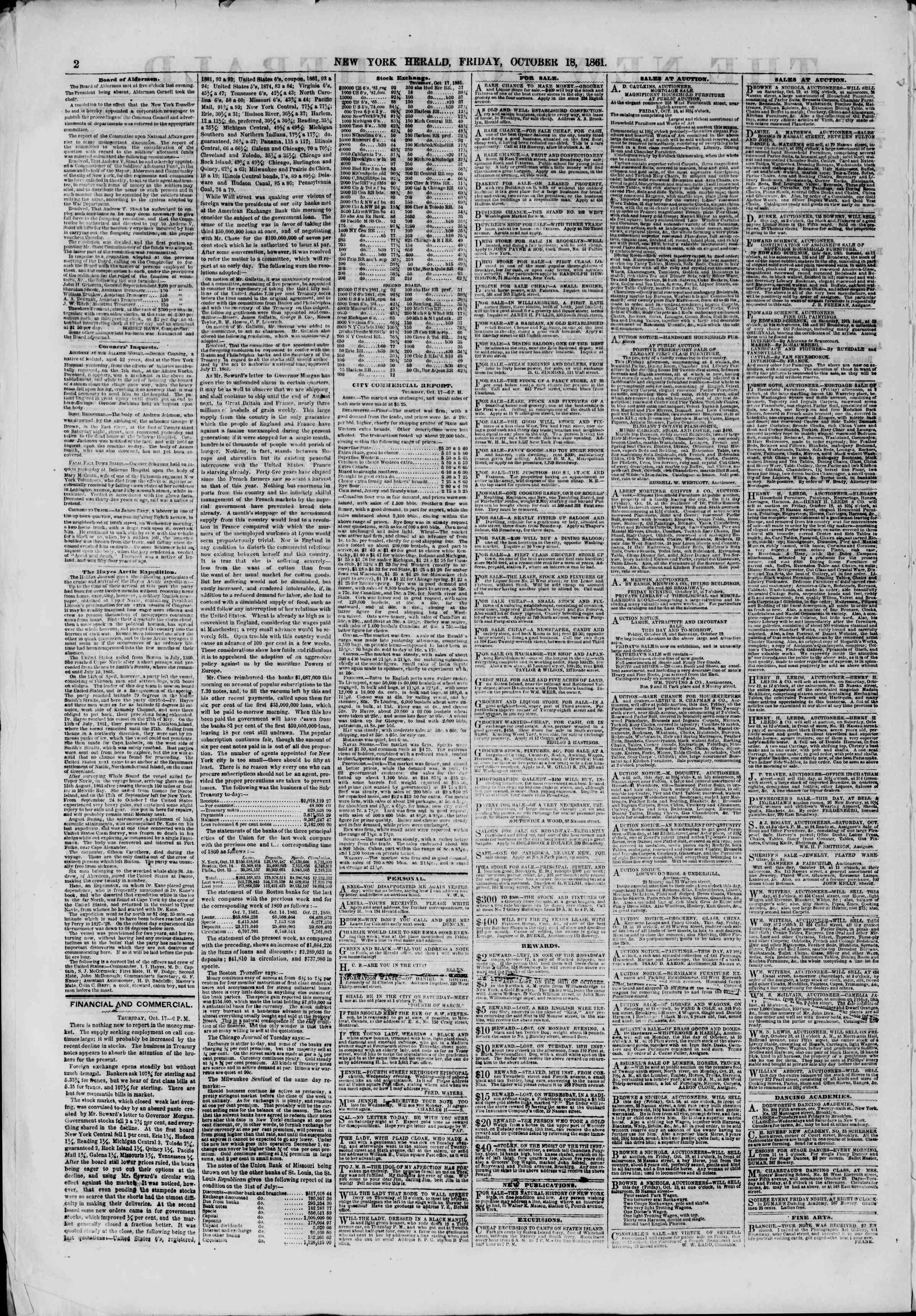 Newspaper of The New York Herald dated October 18, 1861 Page 2