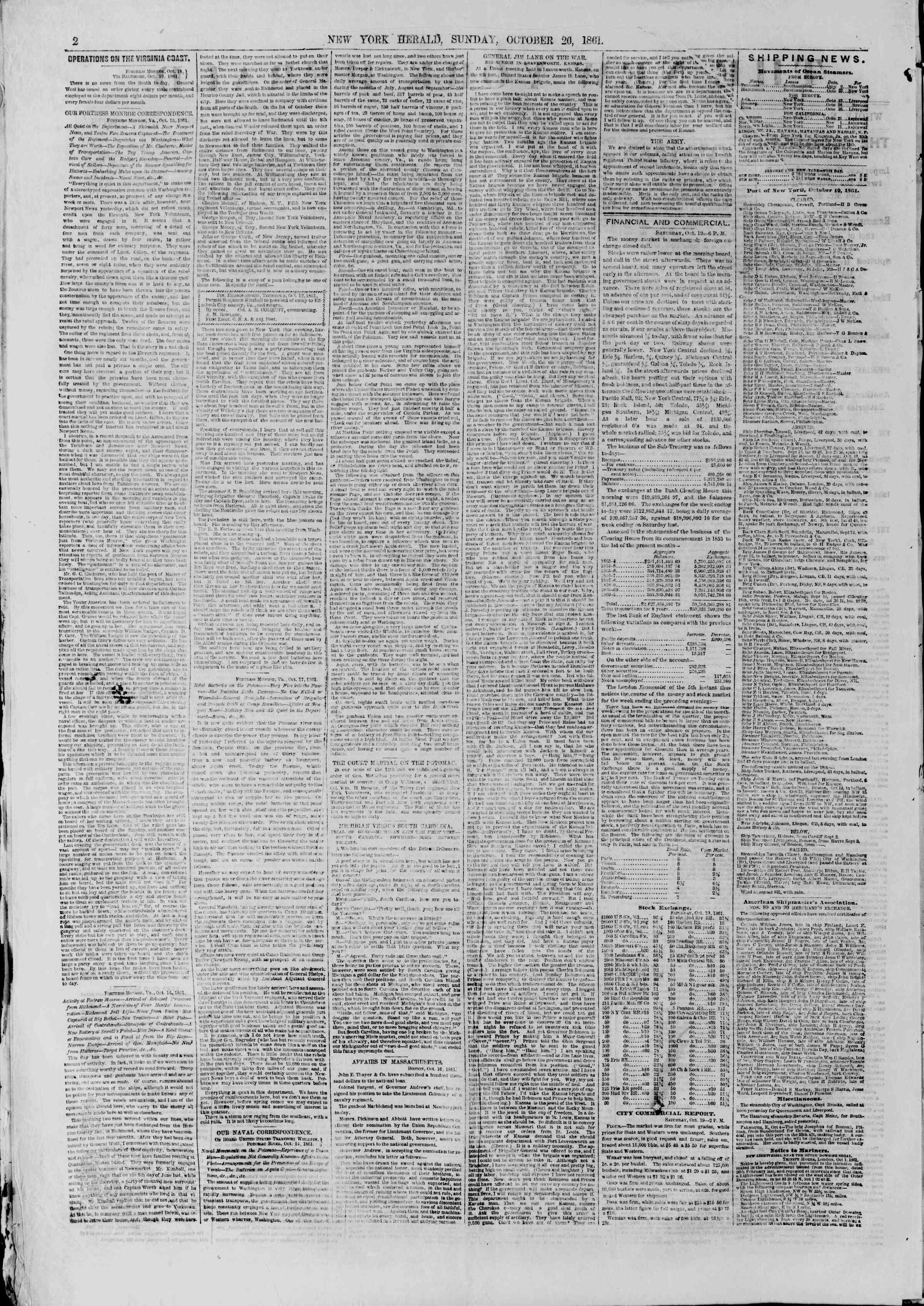 Newspaper of The New York Herald dated October 20, 1861 Page 2