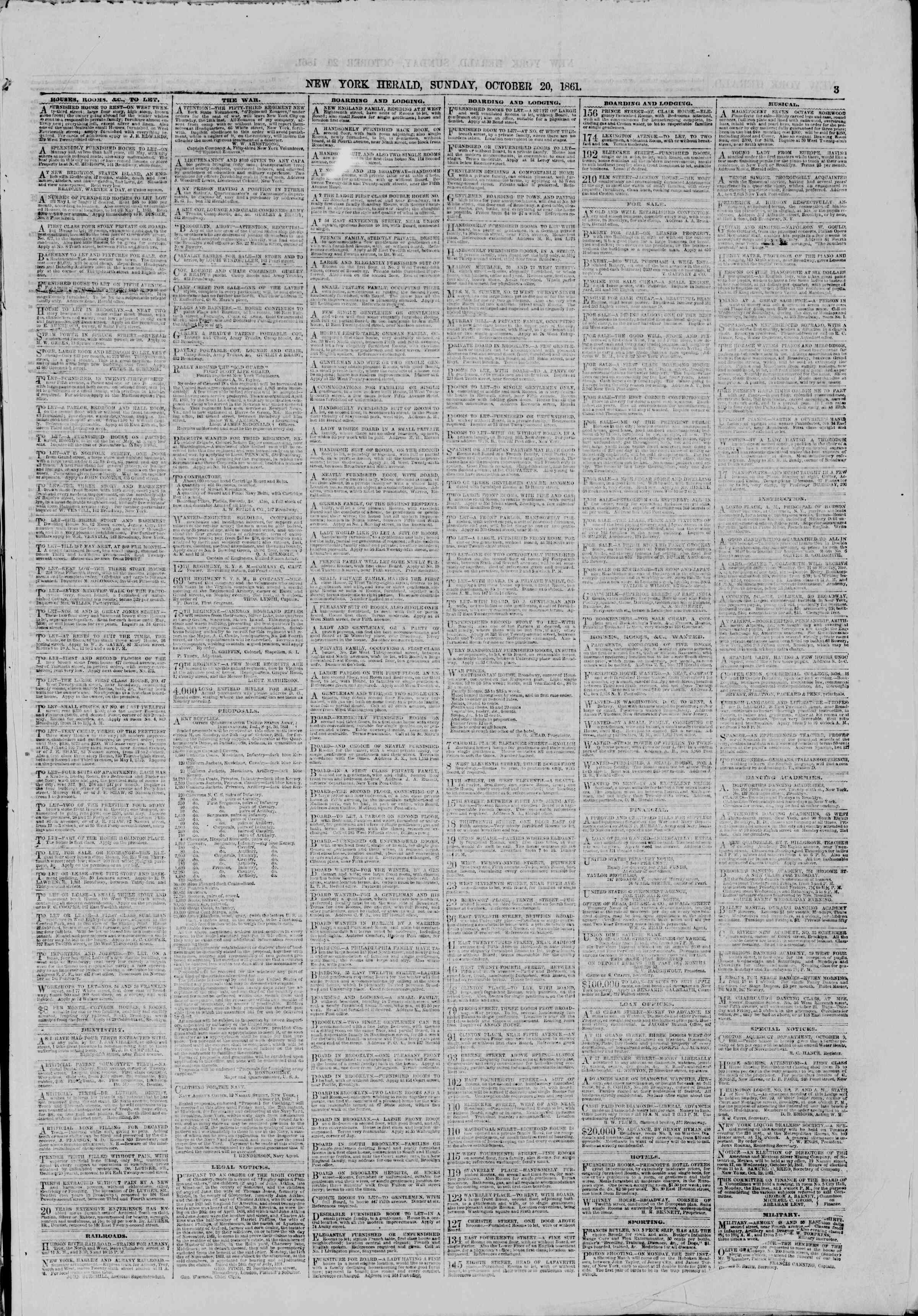 Newspaper of The New York Herald dated October 20, 1861 Page 3