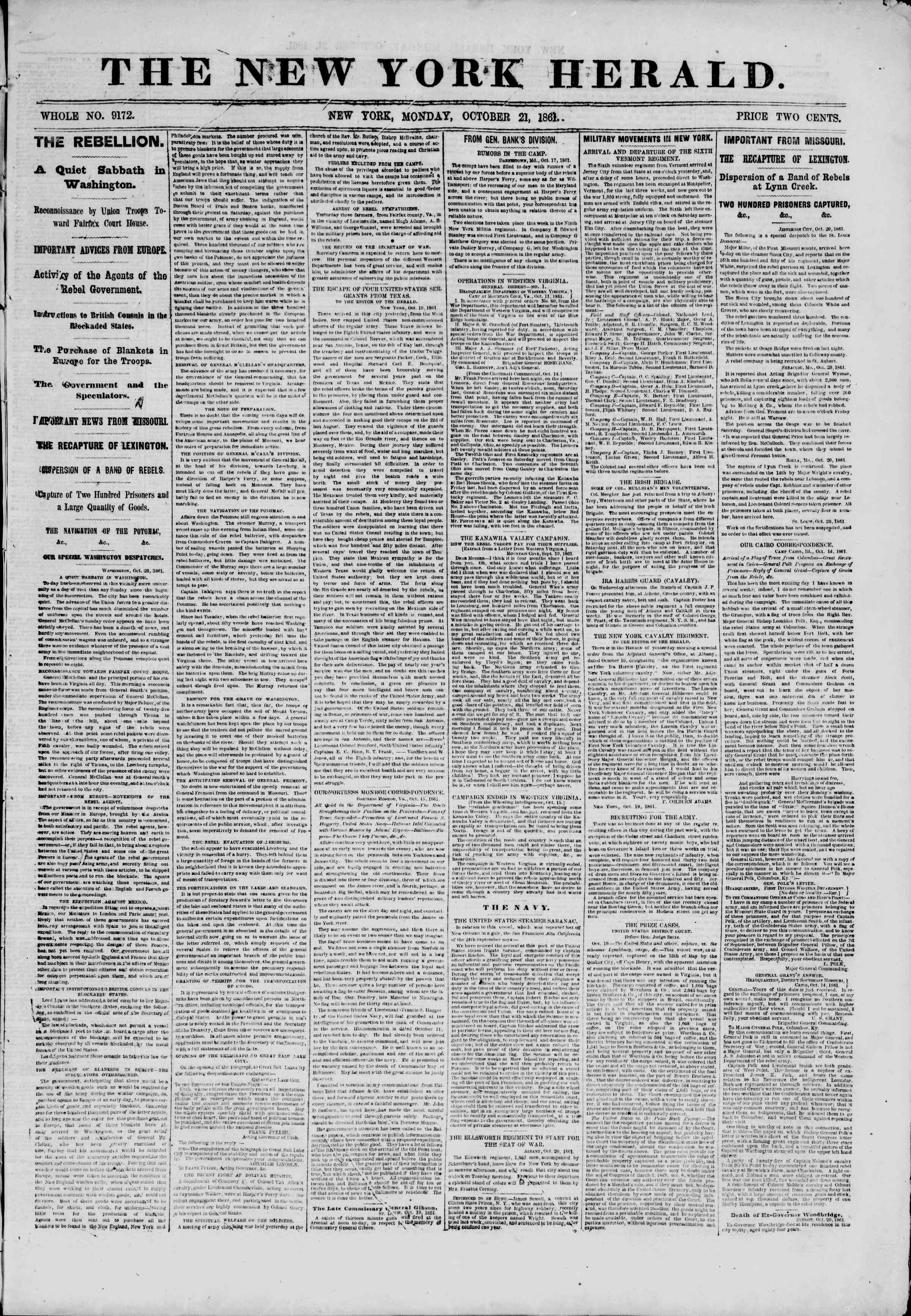 Newspaper of The New York Herald dated October 21, 1861 Page 1