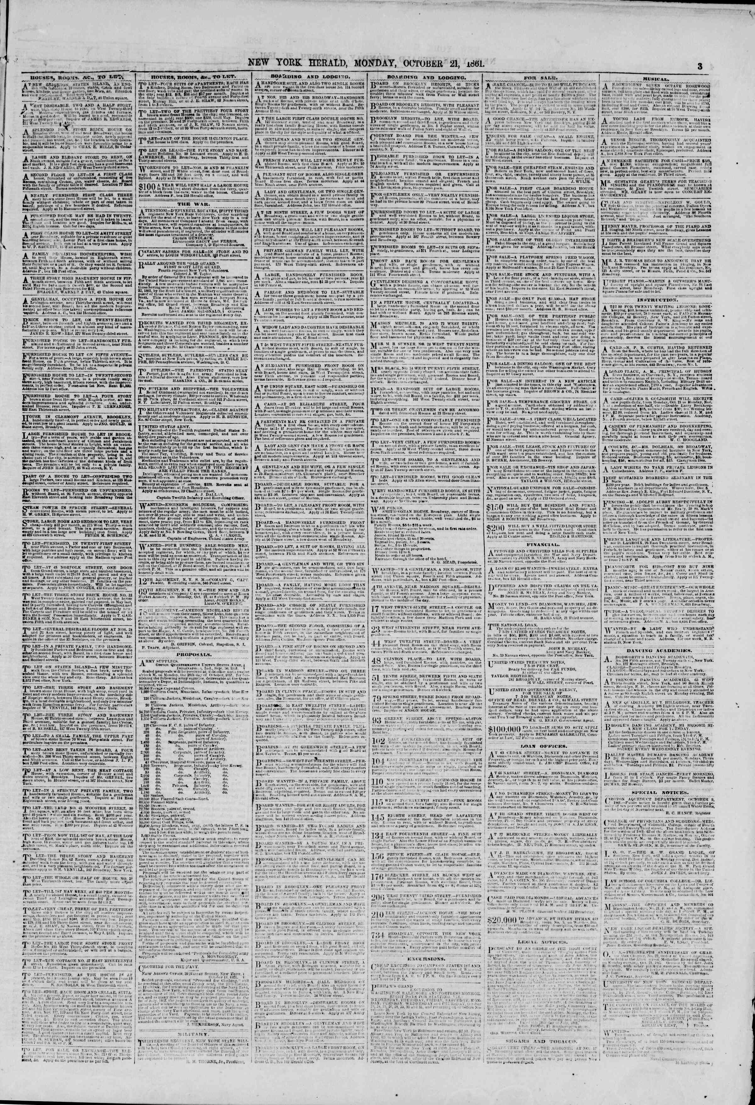 Newspaper of The New York Herald dated October 21, 1861 Page 3