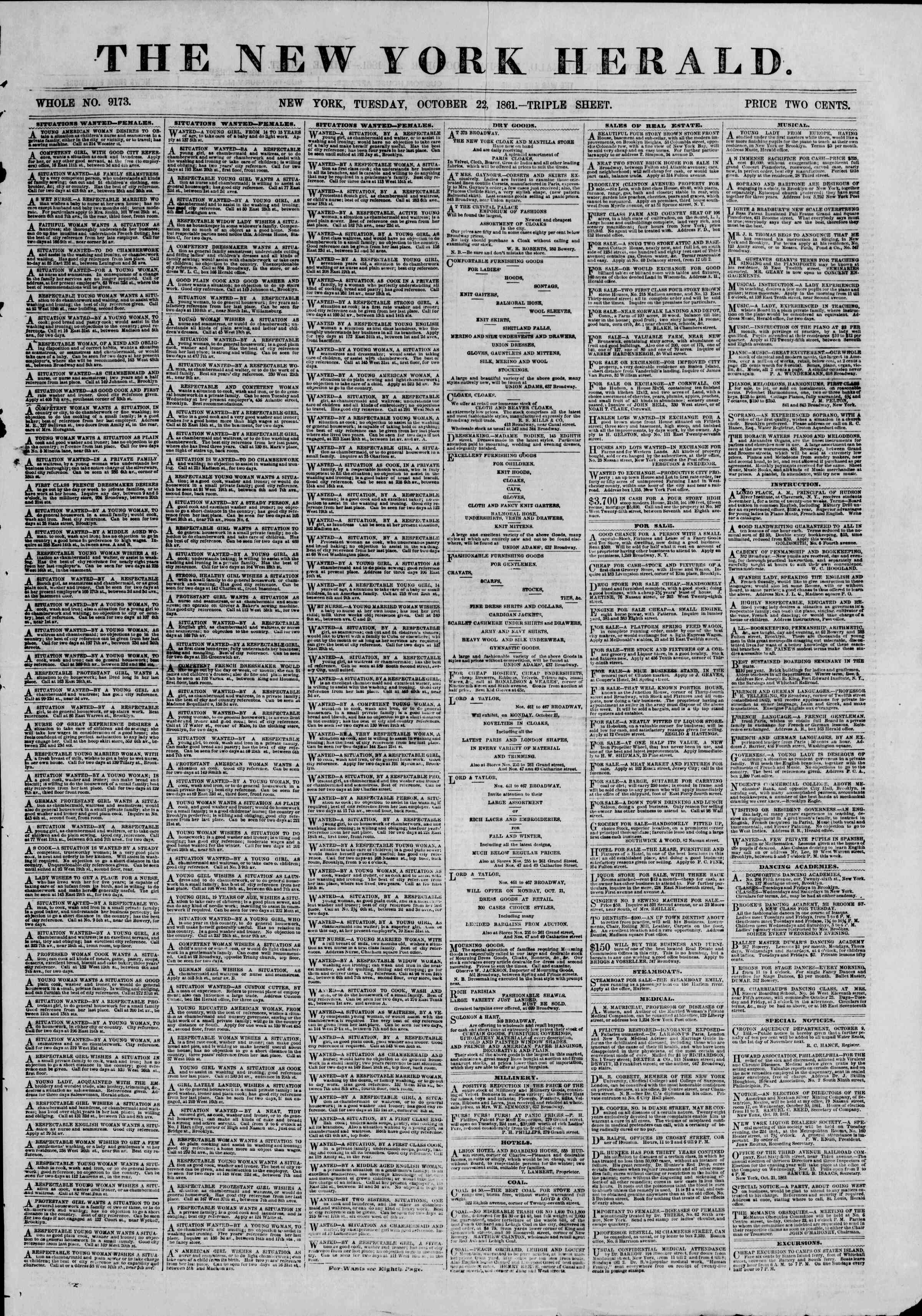 Newspaper of The New York Herald dated October 22, 1861 Page 1