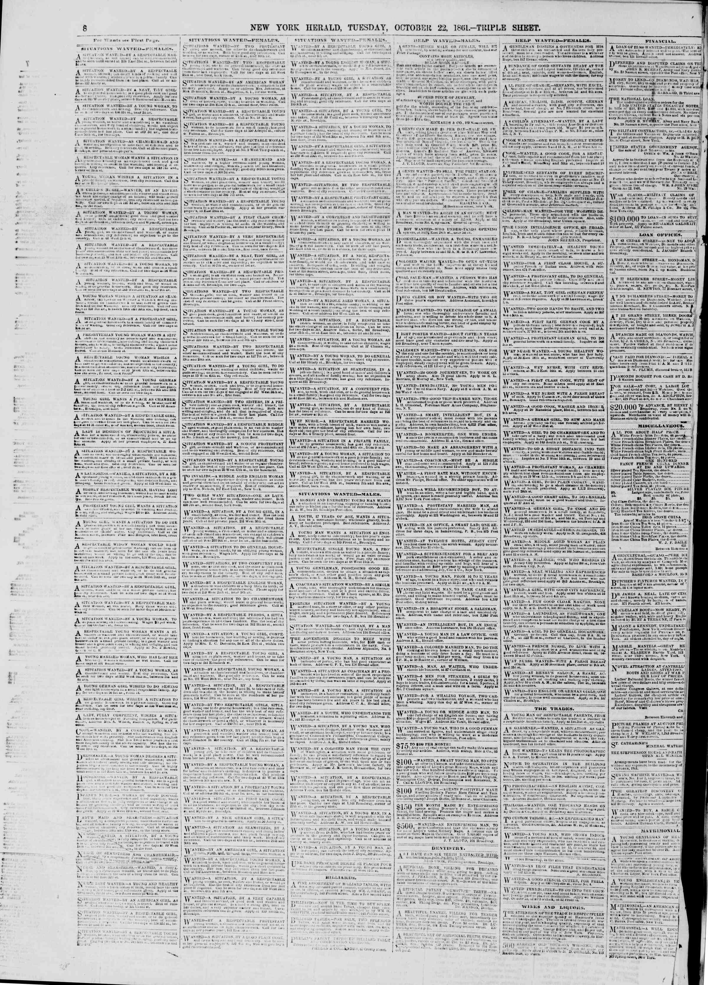 Newspaper of The New York Herald dated October 22, 1861 Page 8