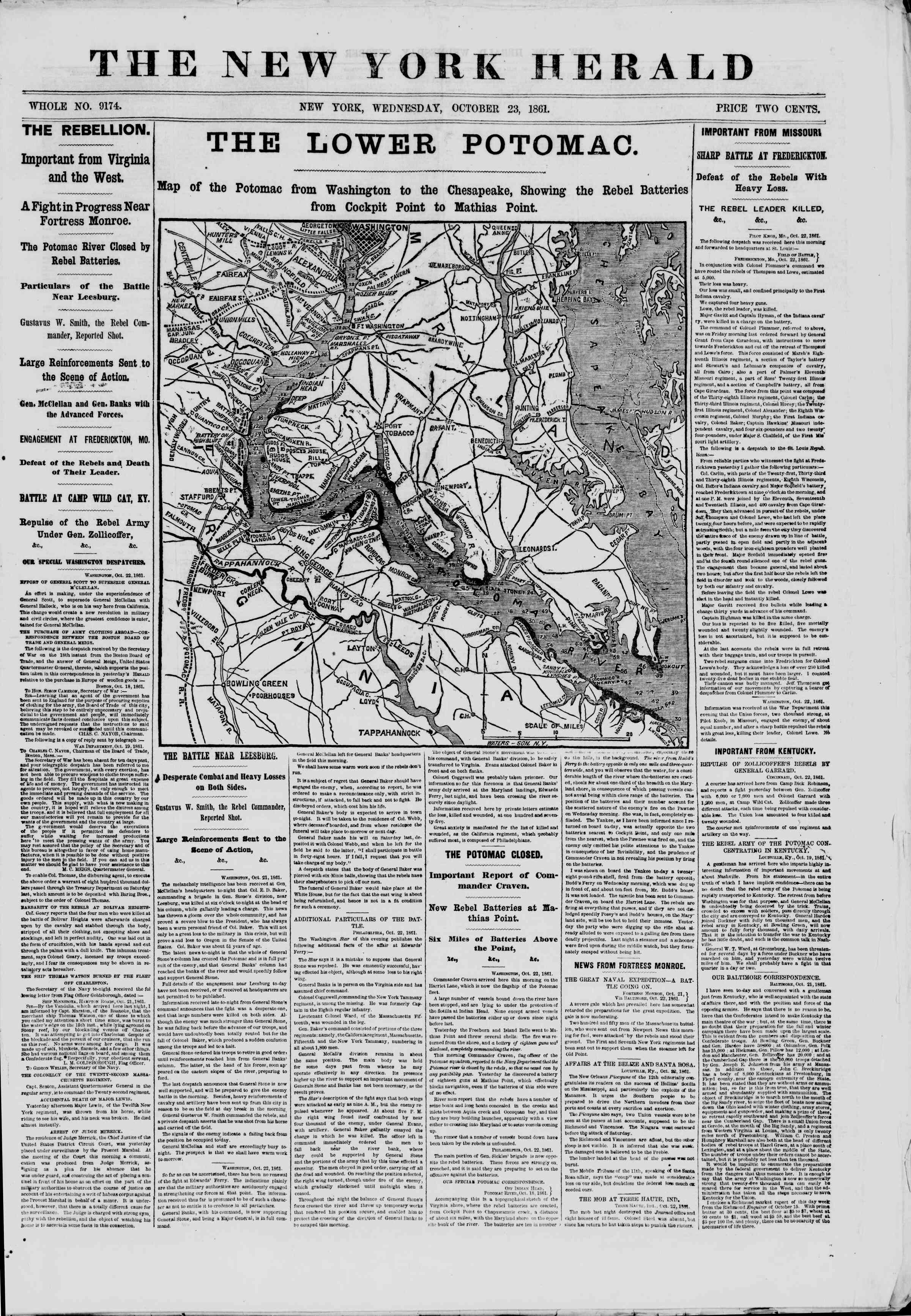 23 Ekim 1861 tarihli The New York Herald Gazetesi Sayfa 1