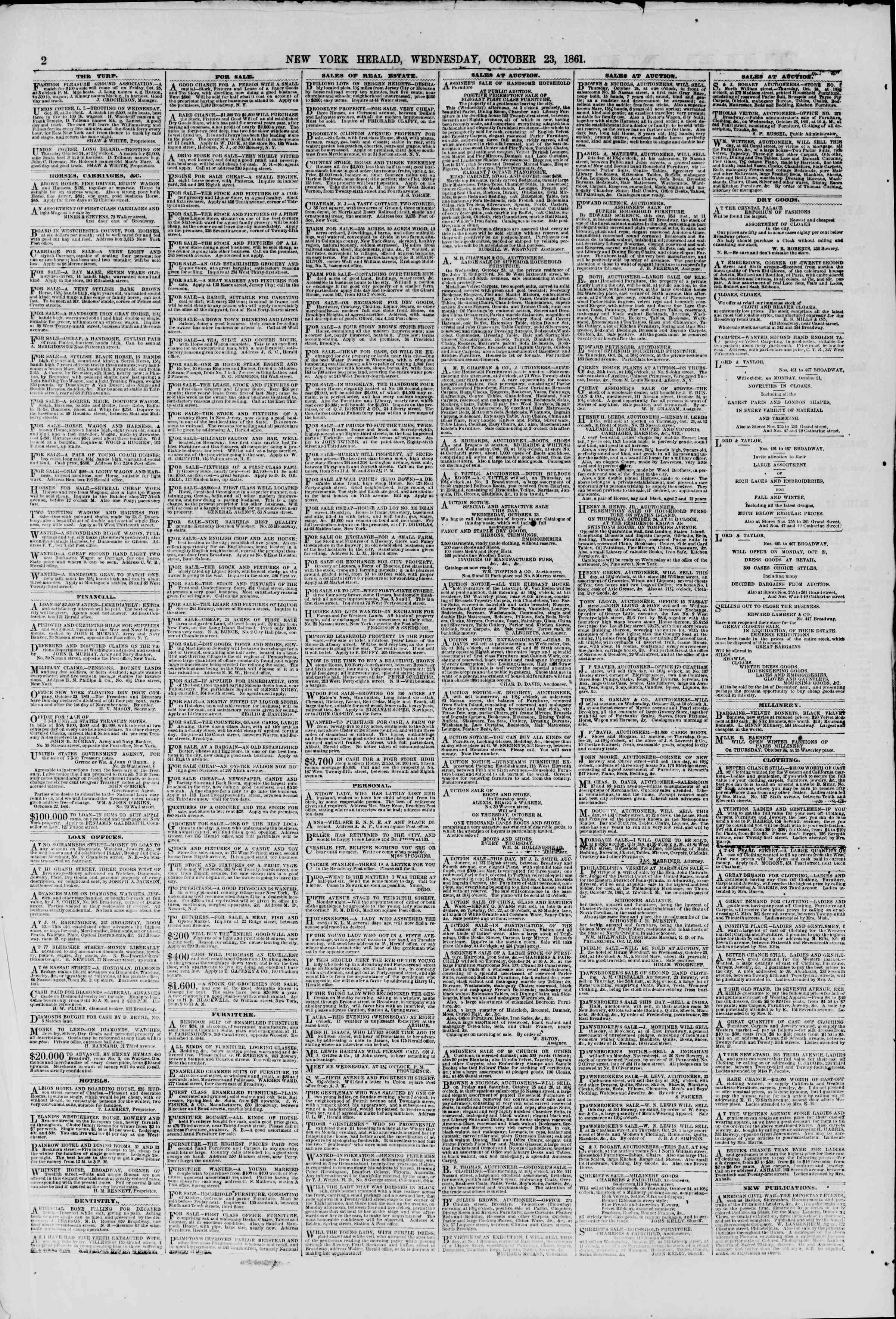 Newspaper of The New York Herald dated October 23, 1861 Page 2