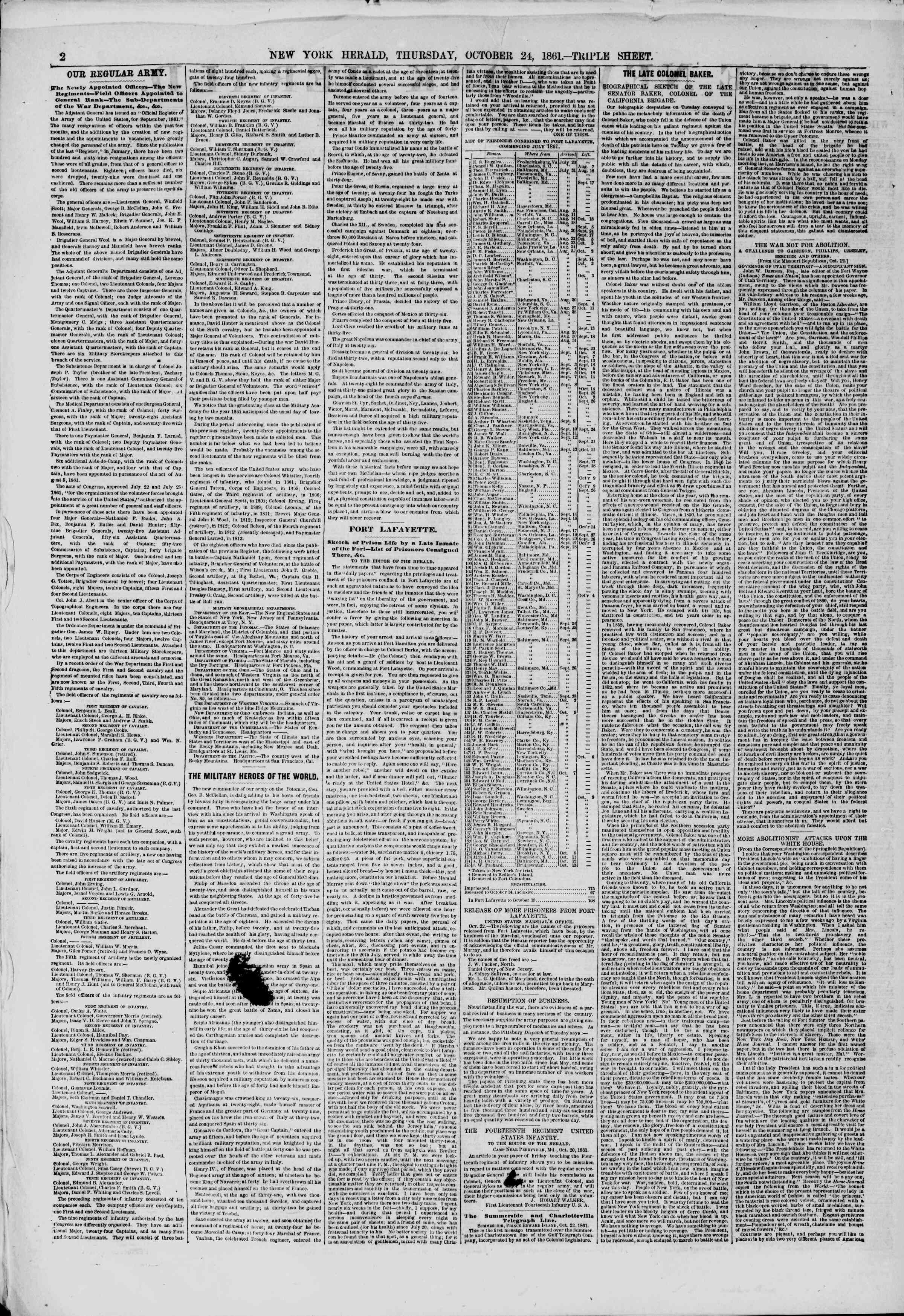 Newspaper of The New York Herald dated October 24, 1861 Page 2