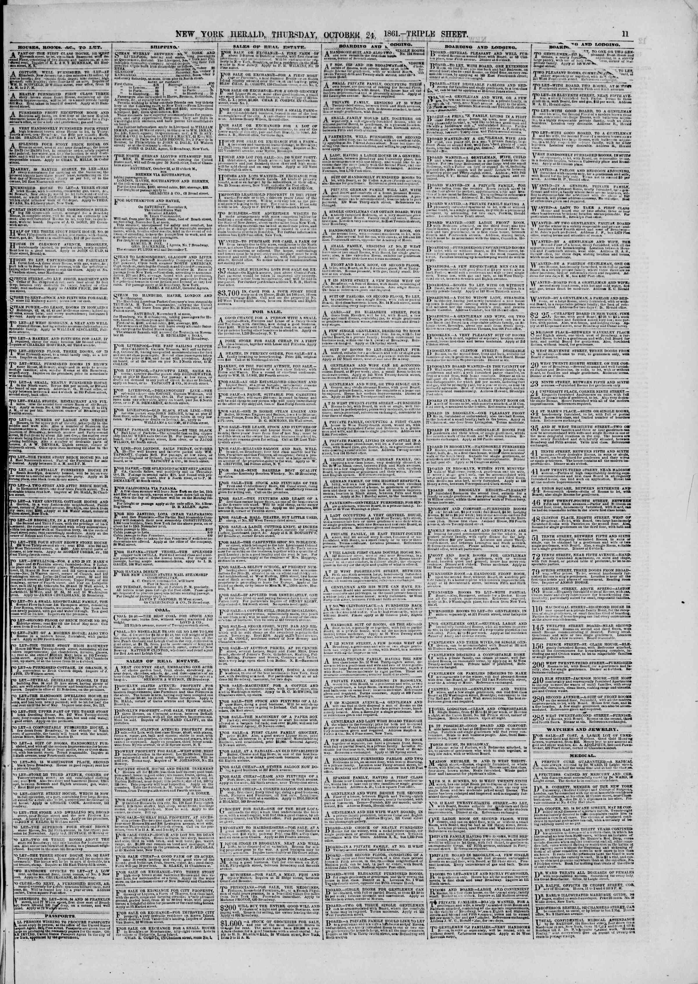Newspaper of The New York Herald dated October 24, 1861 Page 11