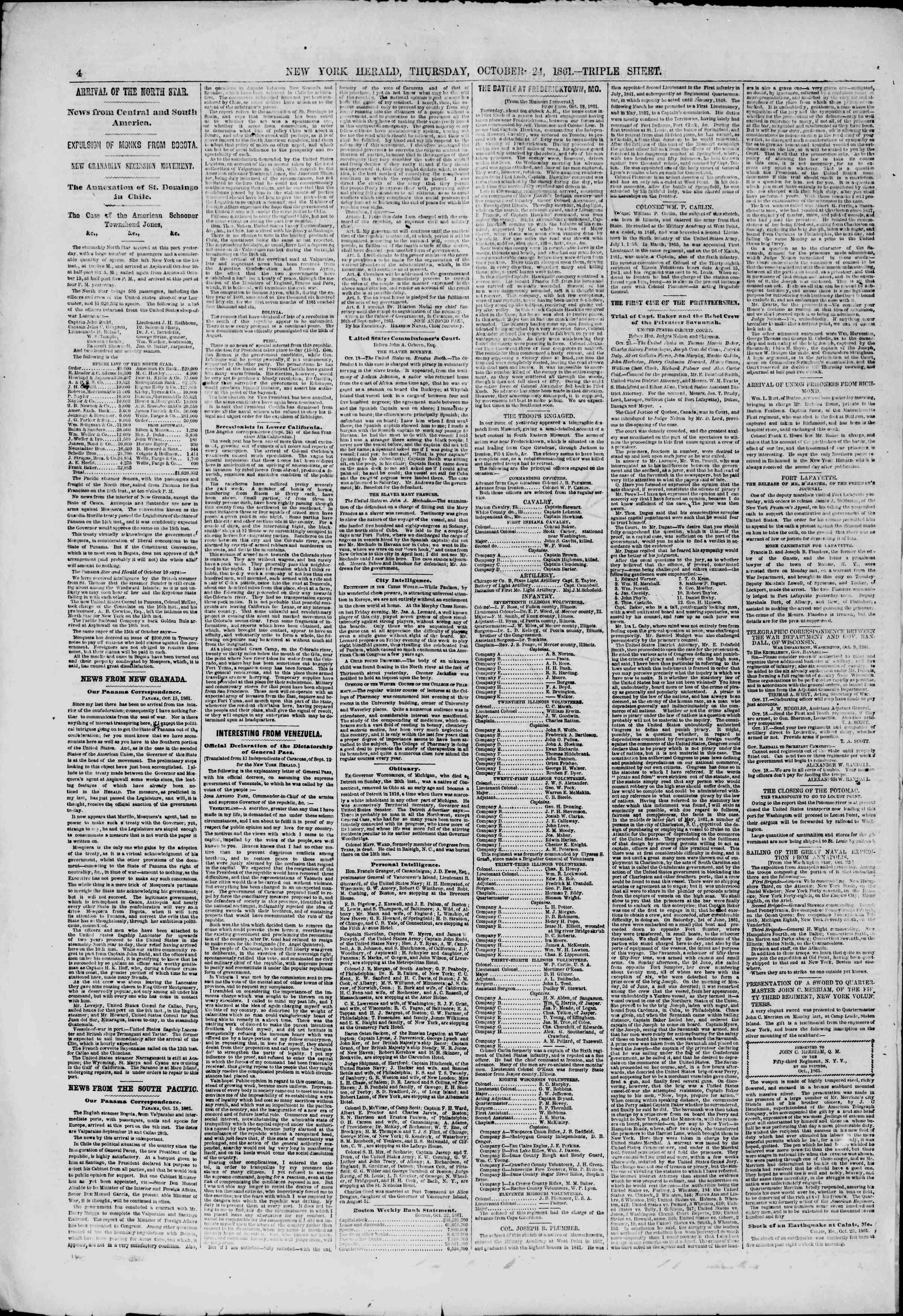 Newspaper of The New York Herald dated October 24, 1861 Page 4