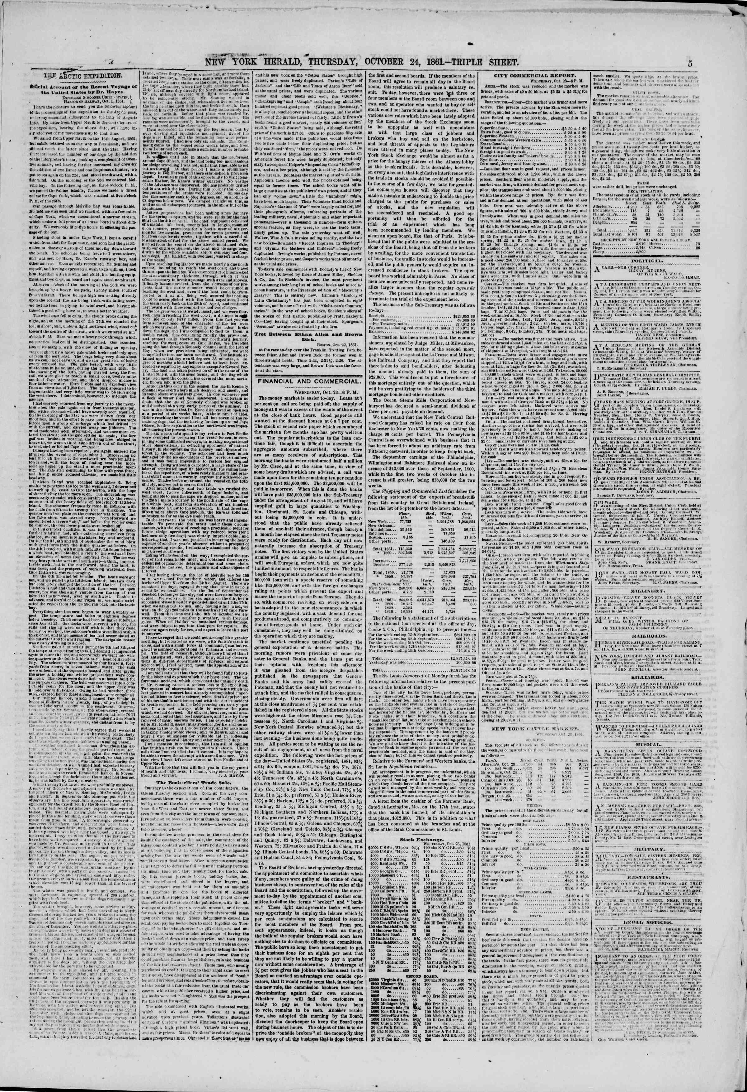 Newspaper of The New York Herald dated October 24, 1861 Page 5