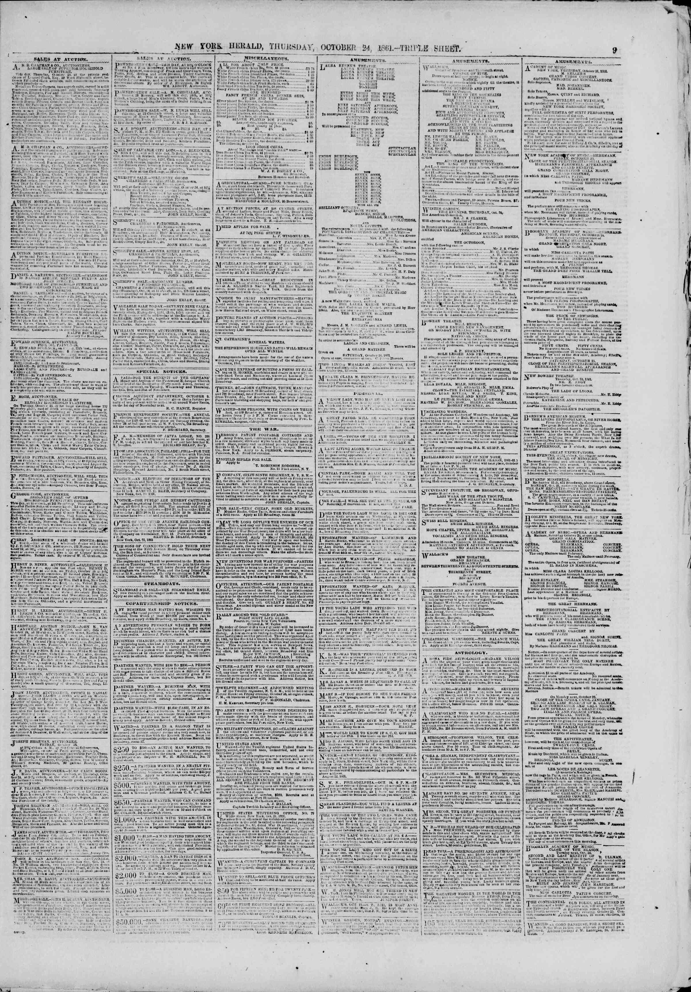 Newspaper of The New York Herald dated October 24, 1861 Page 9