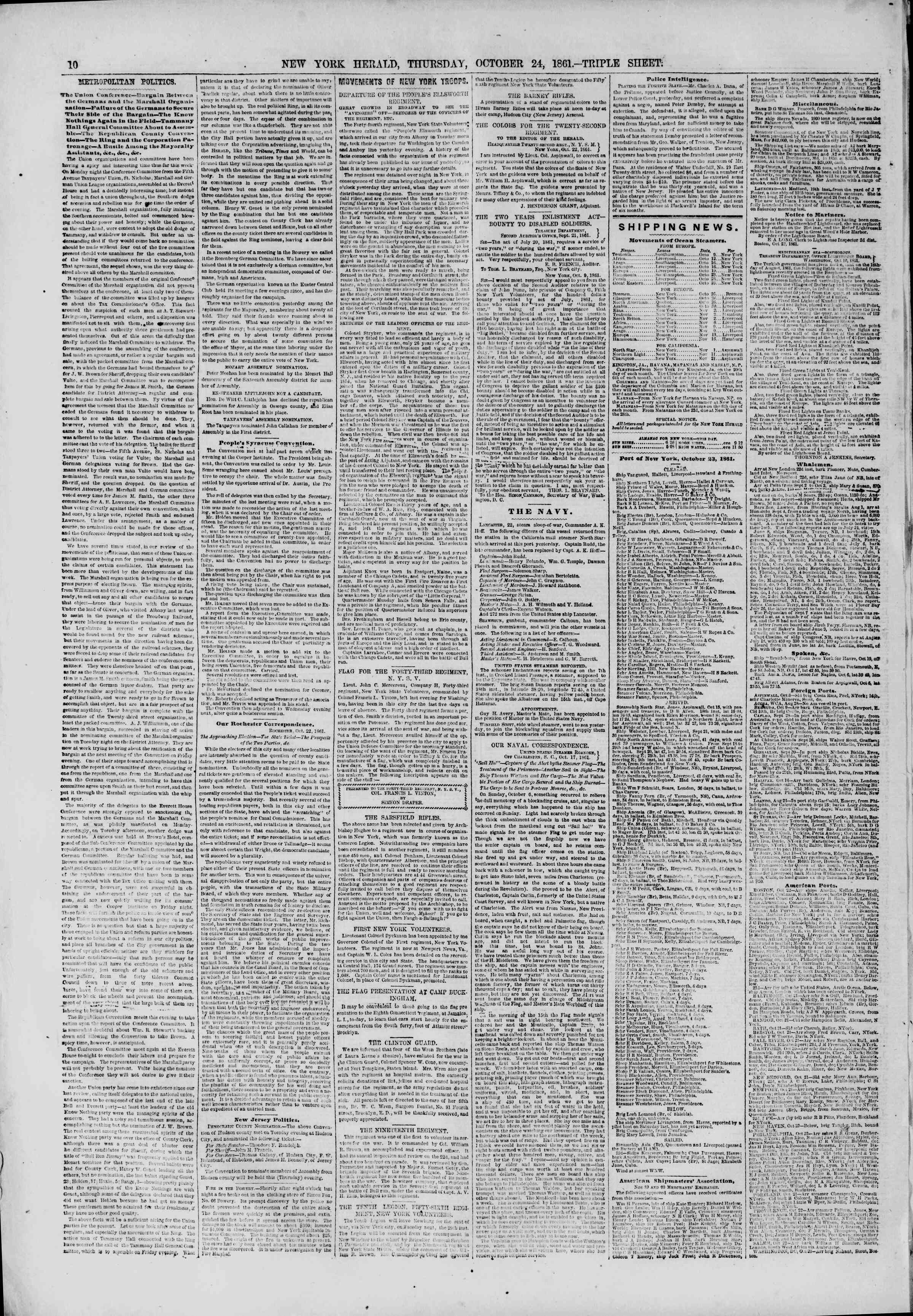 Newspaper of The New York Herald dated October 24, 1861 Page 10