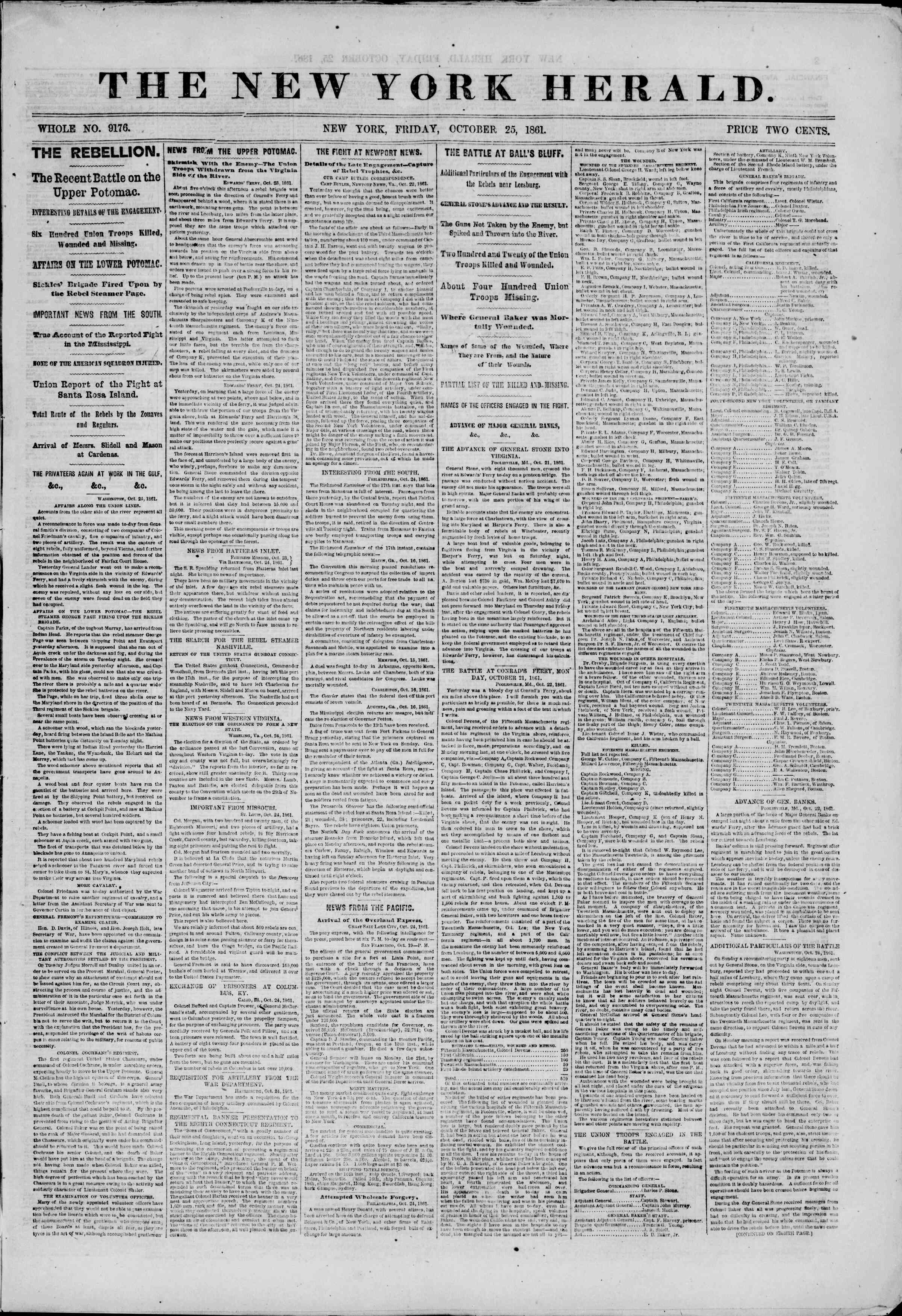 Newspaper of The New York Herald dated October 25, 1861 Page 1
