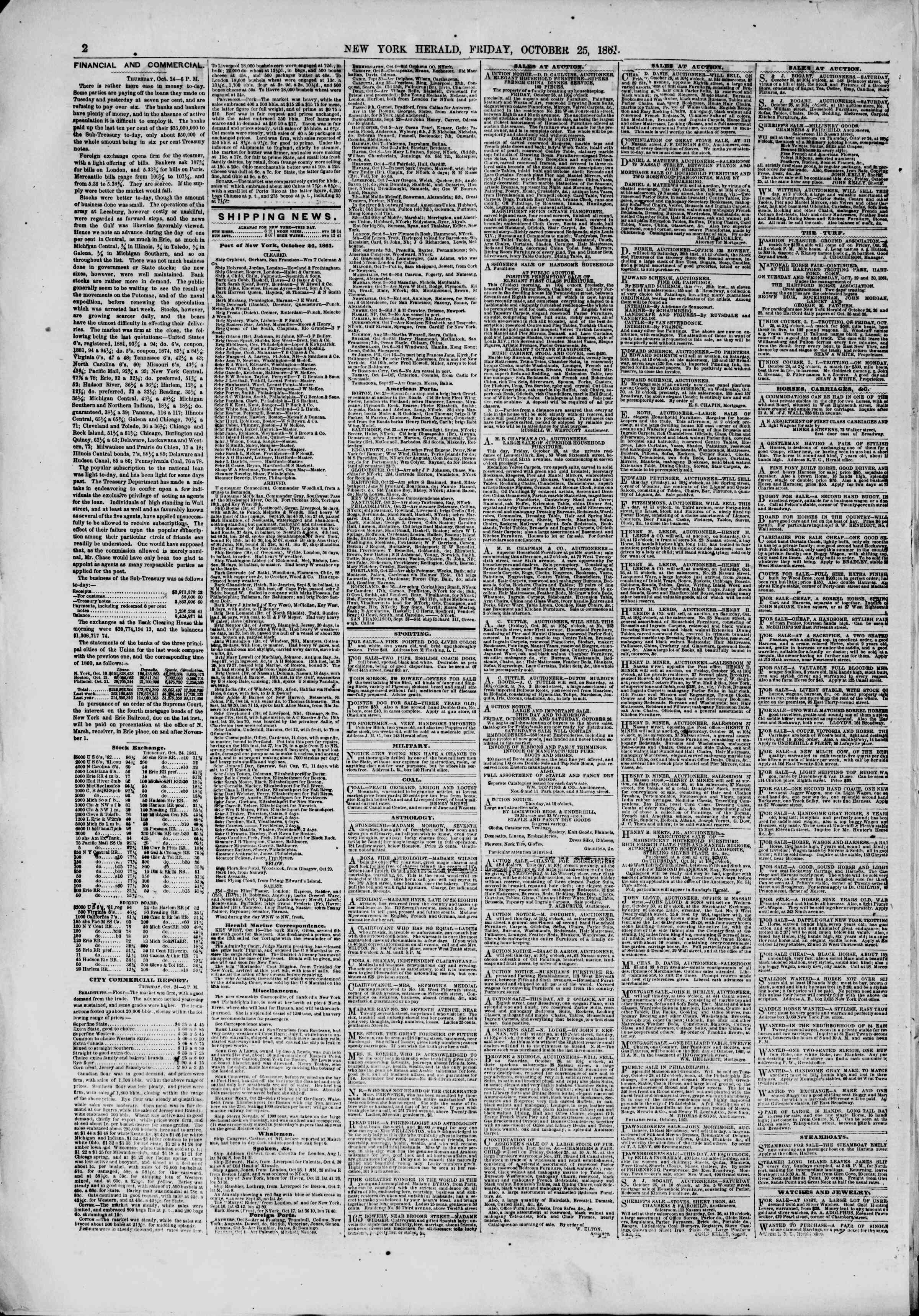 Newspaper of The New York Herald dated October 25, 1861 Page 2