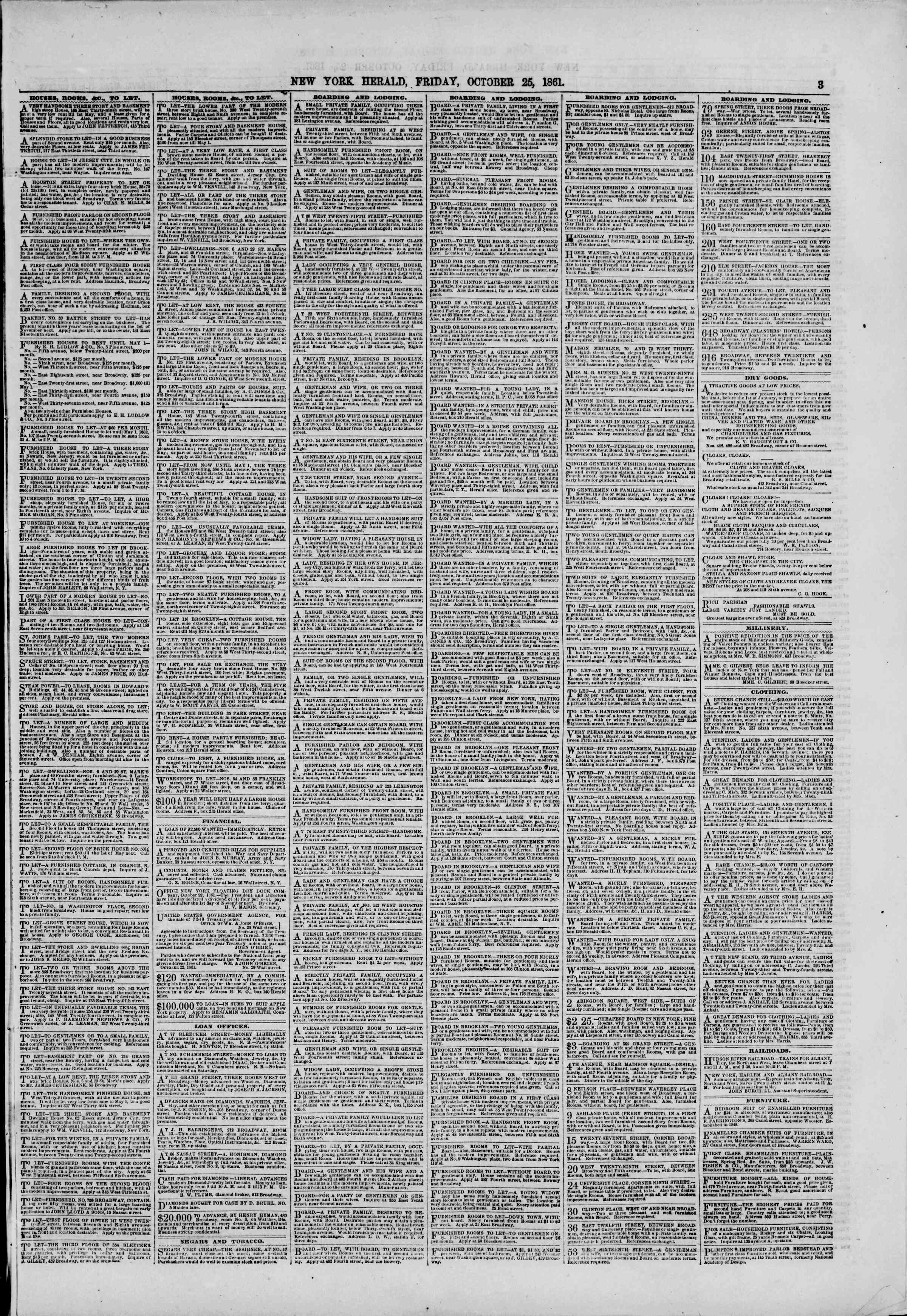 Newspaper of The New York Herald dated October 25, 1861 Page 3