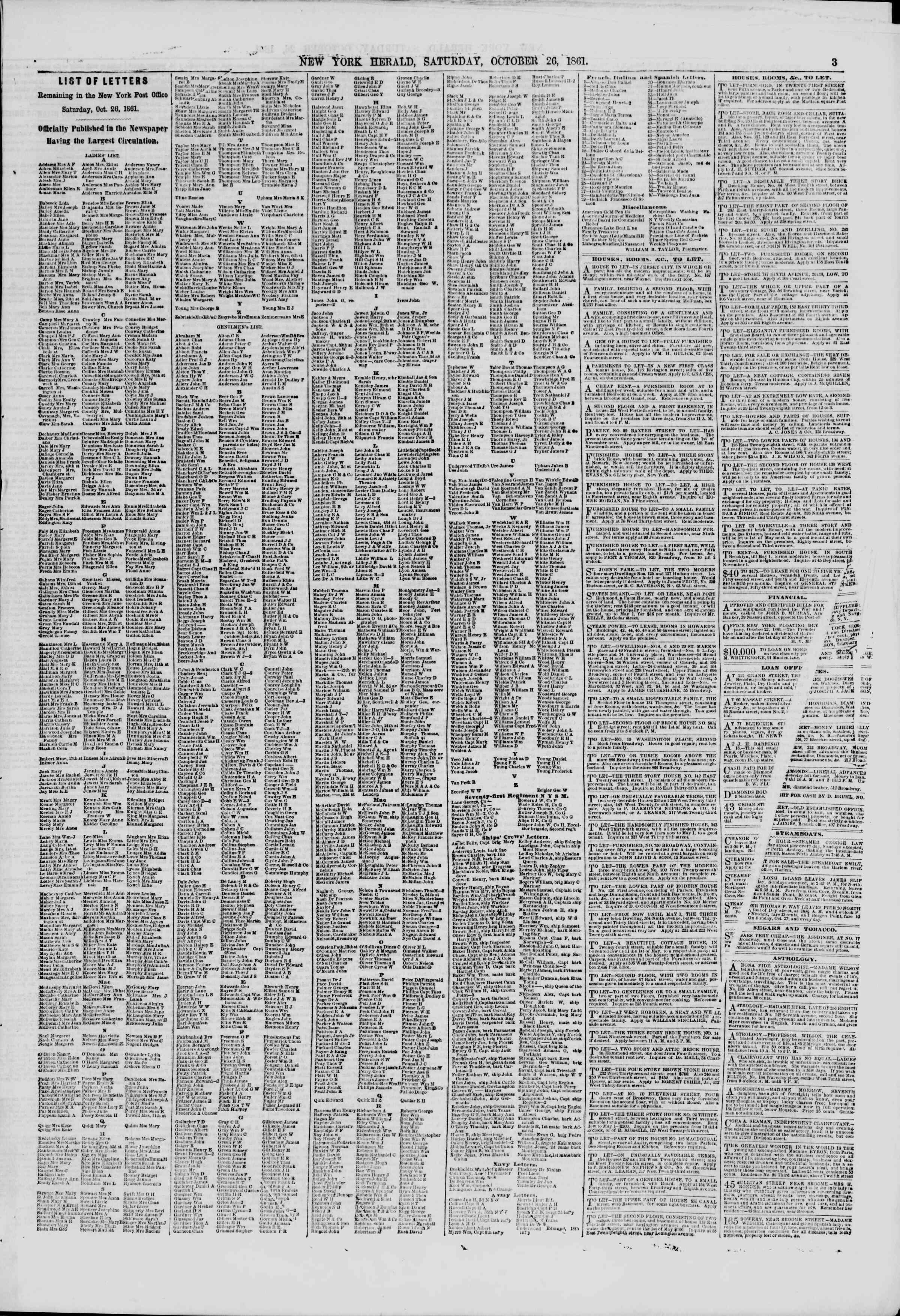 Newspaper of The New York Herald dated October 26, 1861 Page 3