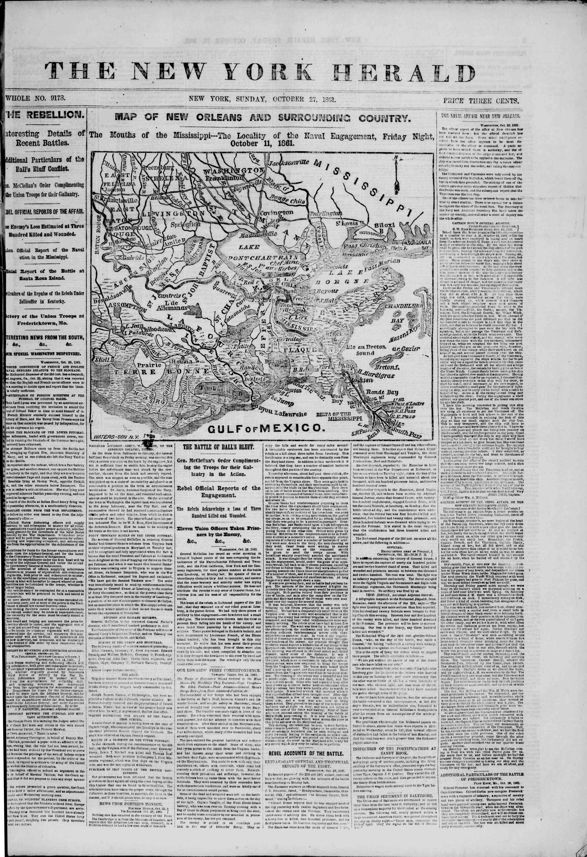Newspaper of The New York Herald dated October 27, 1861 Page 1