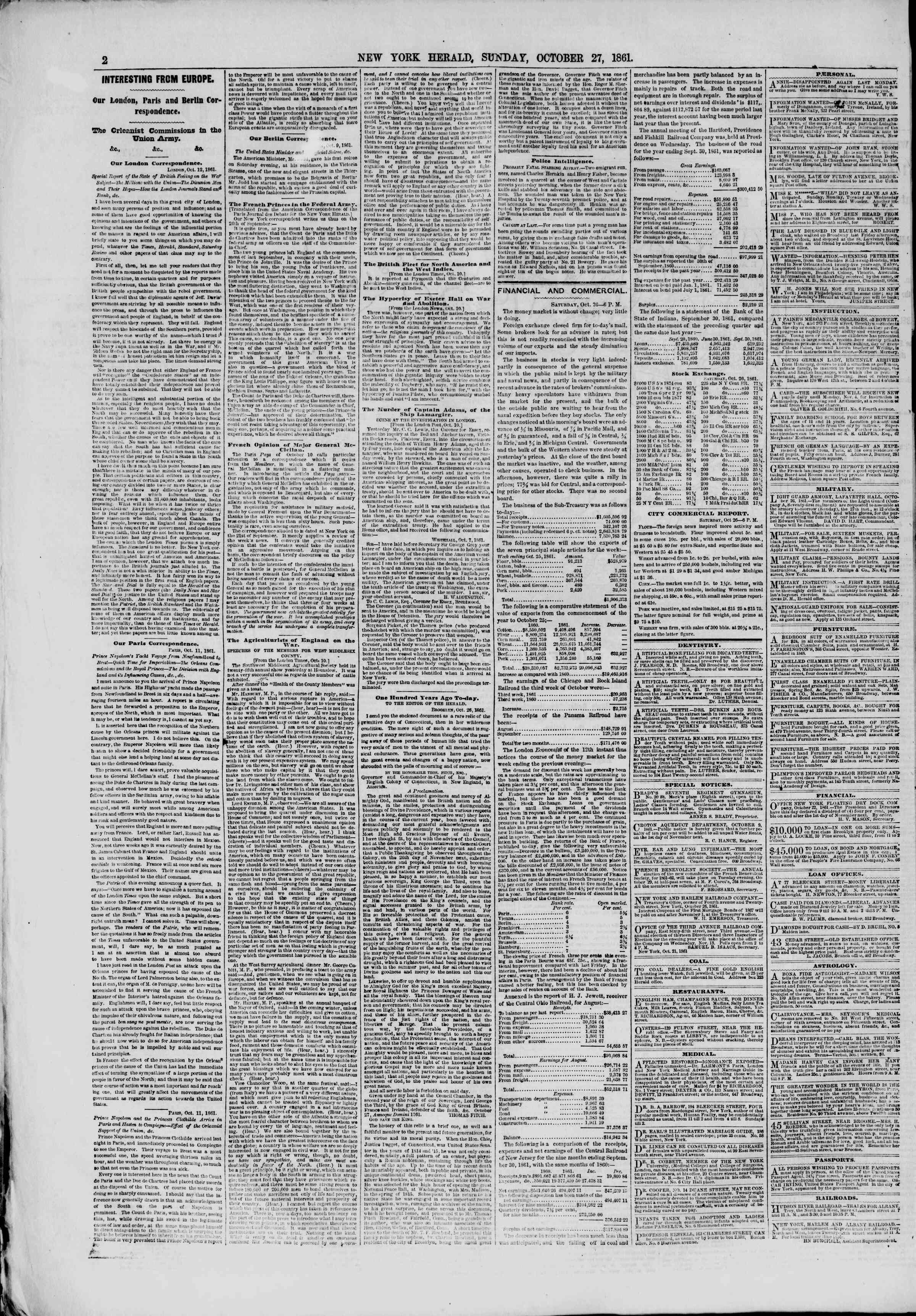 Newspaper of The New York Herald dated October 27, 1861 Page 2
