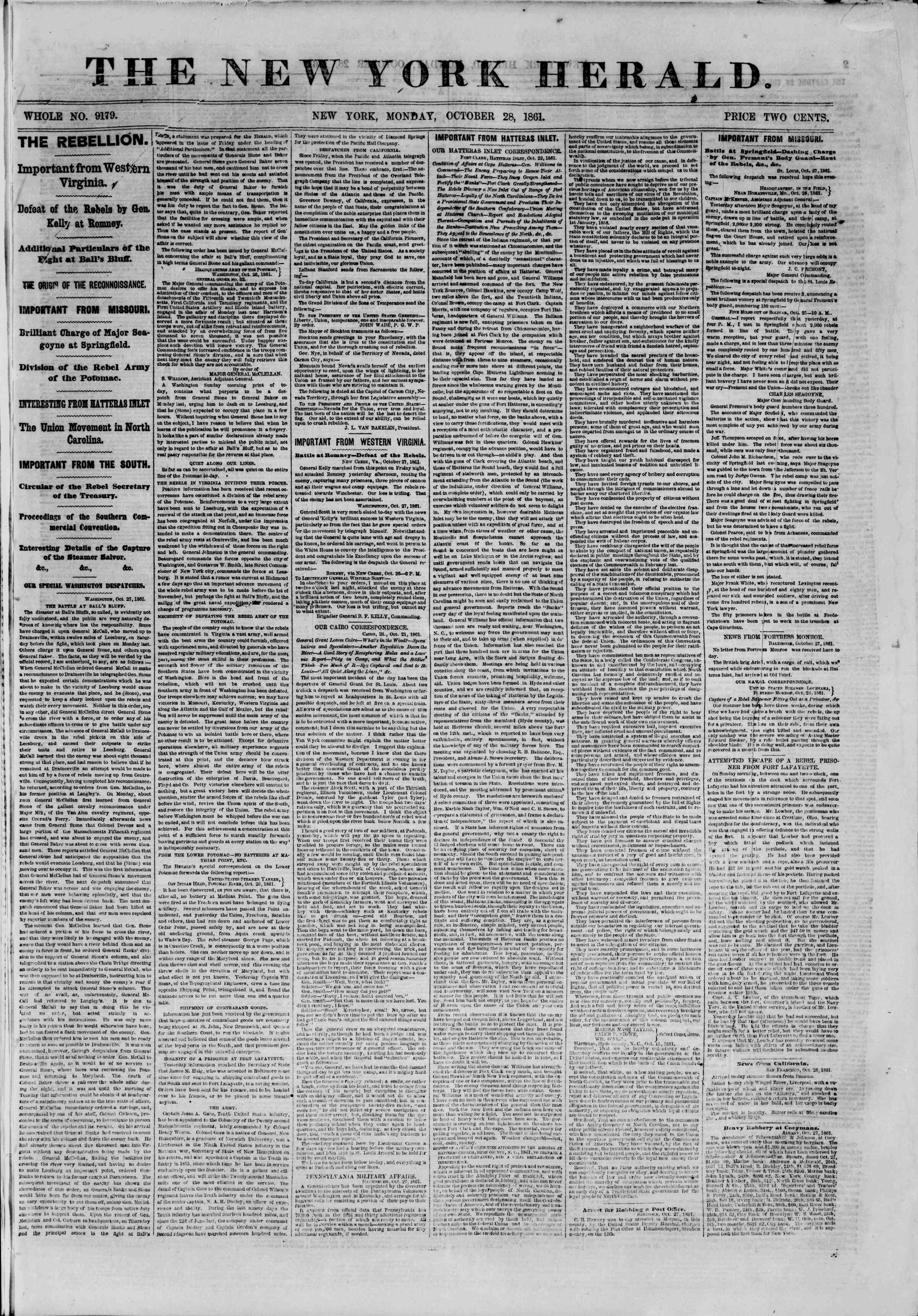 Newspaper of The New York Herald dated October 28, 1861 Page 1