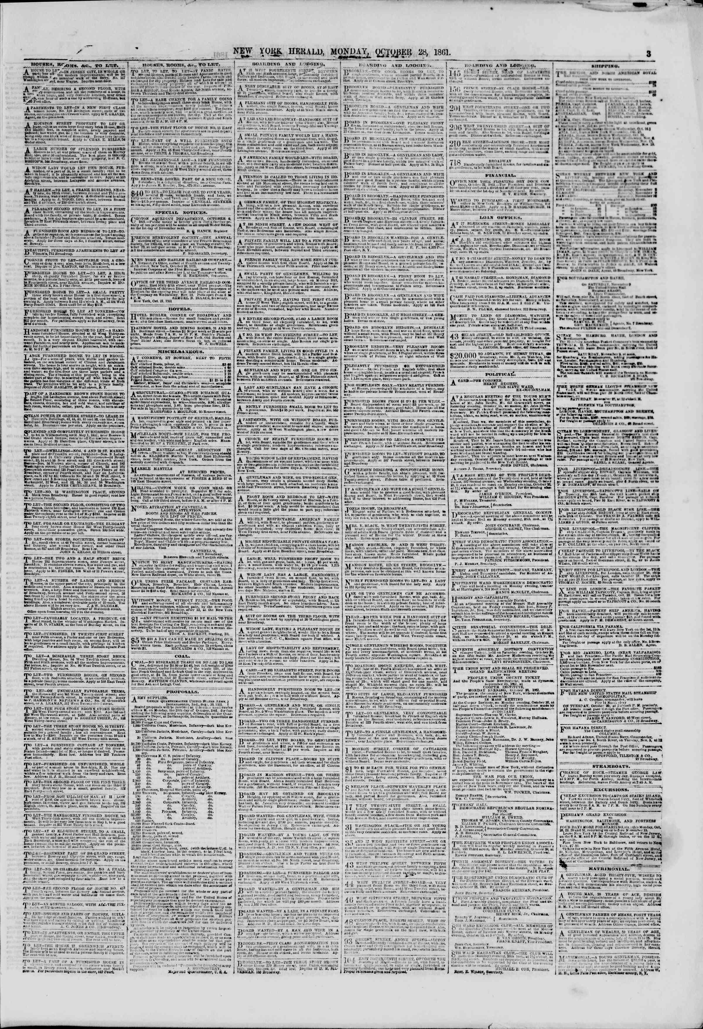 Newspaper of The New York Herald dated October 28, 1861 Page 3