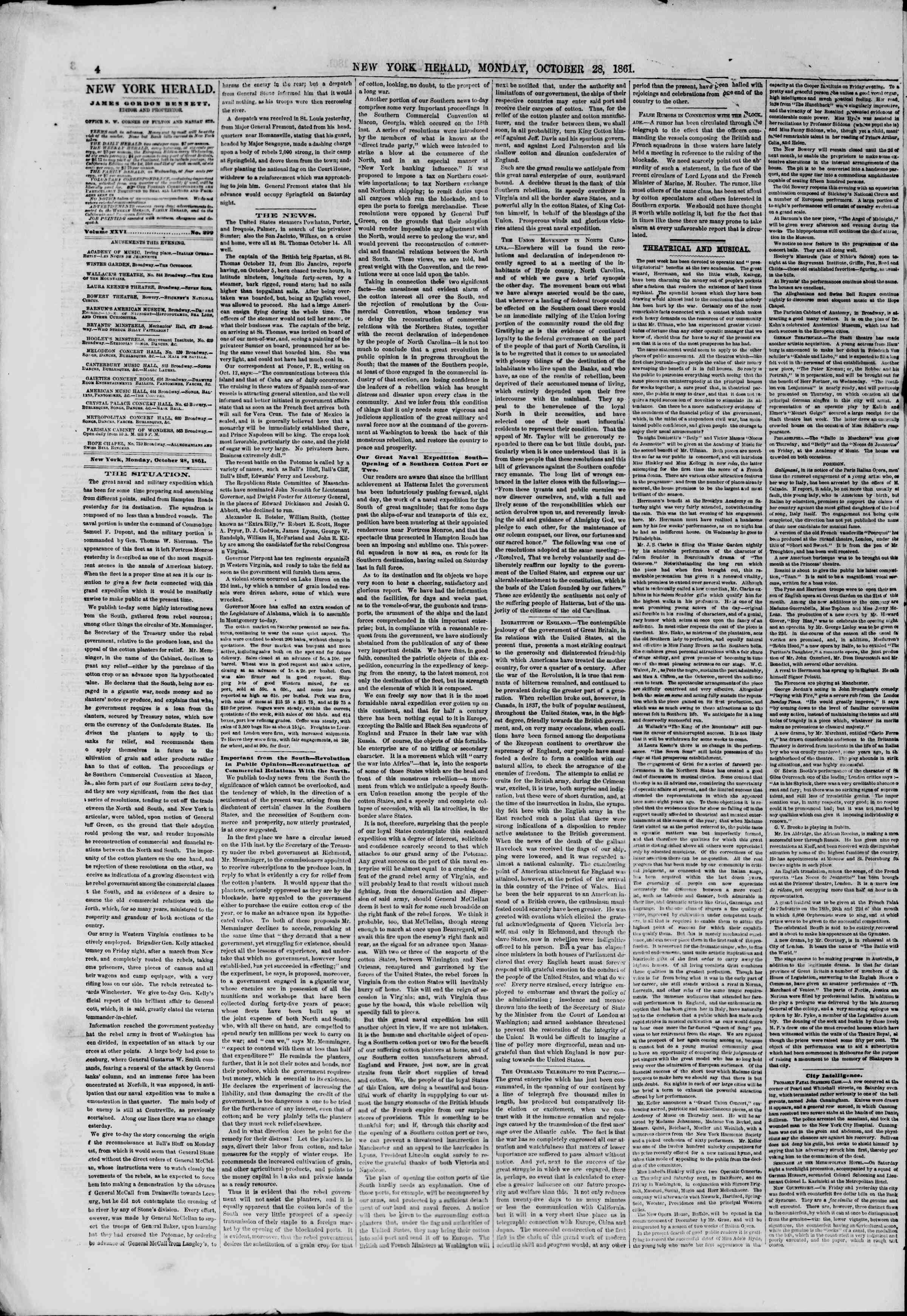 Newspaper of The New York Herald dated October 28, 1861 Page 4