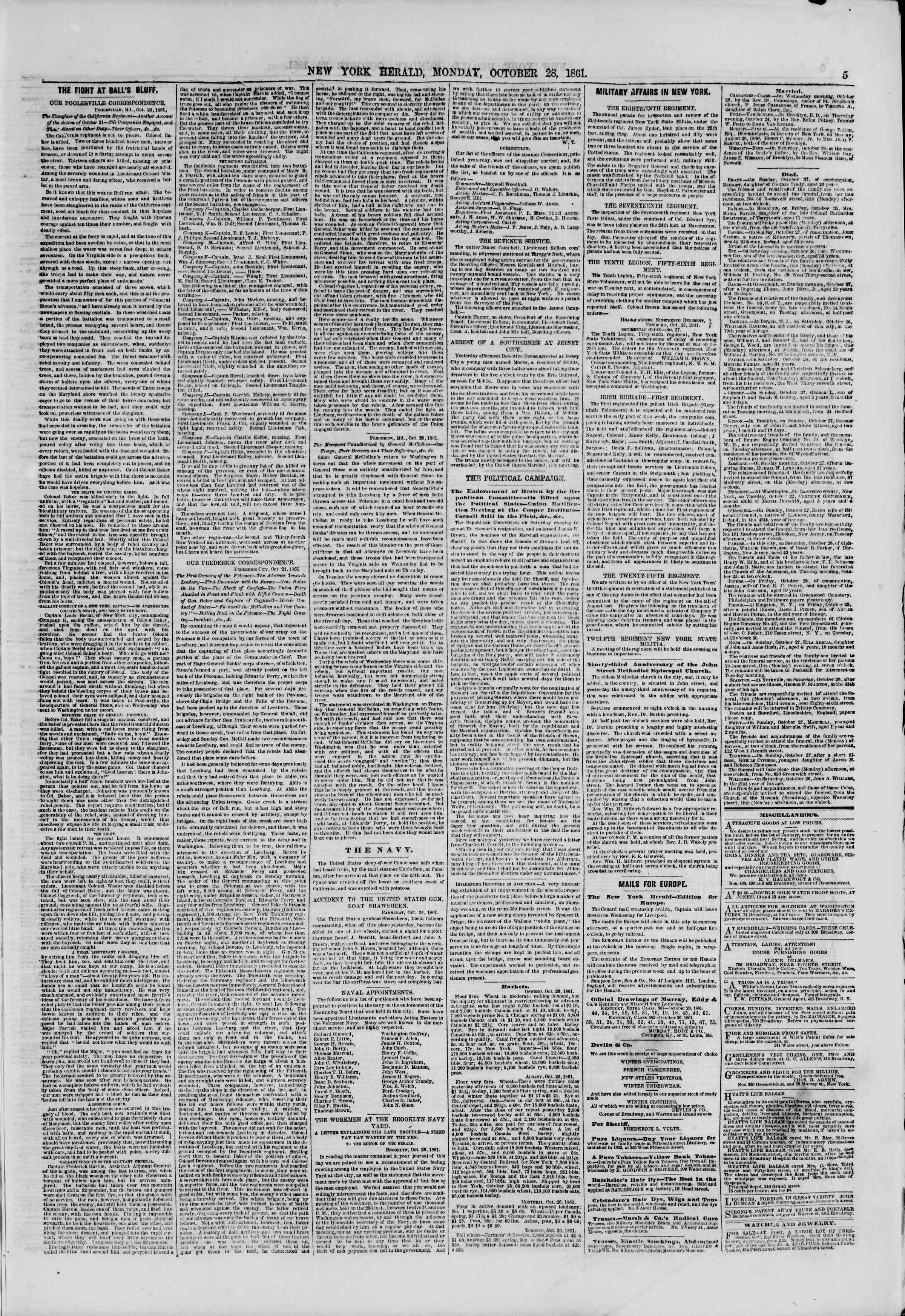 Newspaper of The New York Herald dated October 28, 1861 Page 5