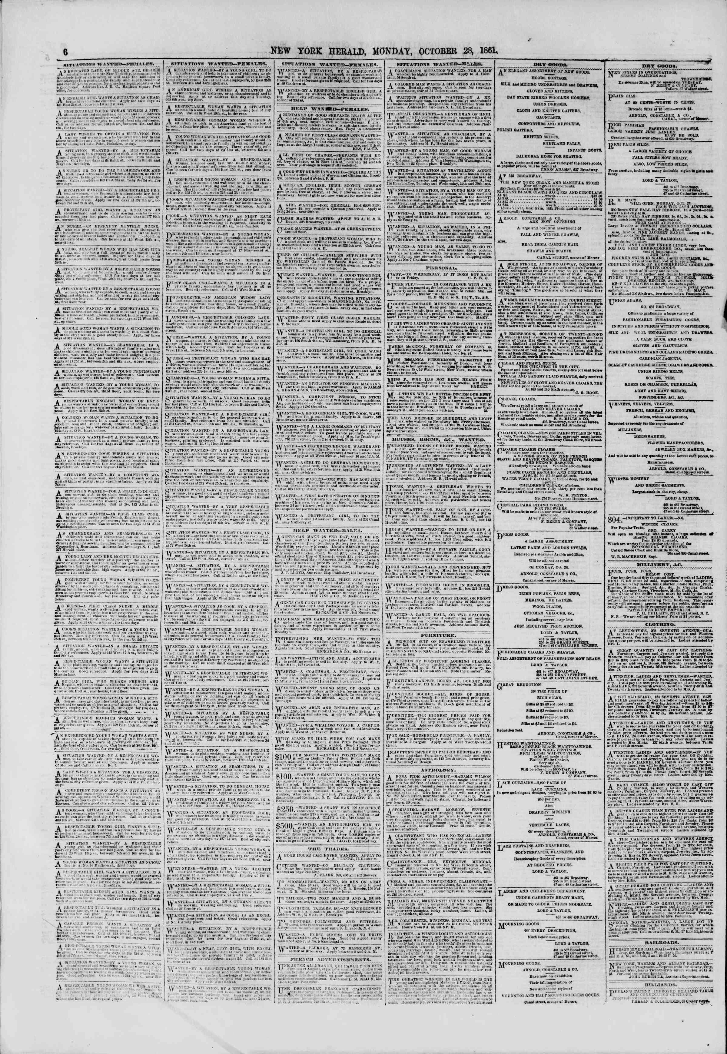 Newspaper of The New York Herald dated October 28, 1861 Page 6