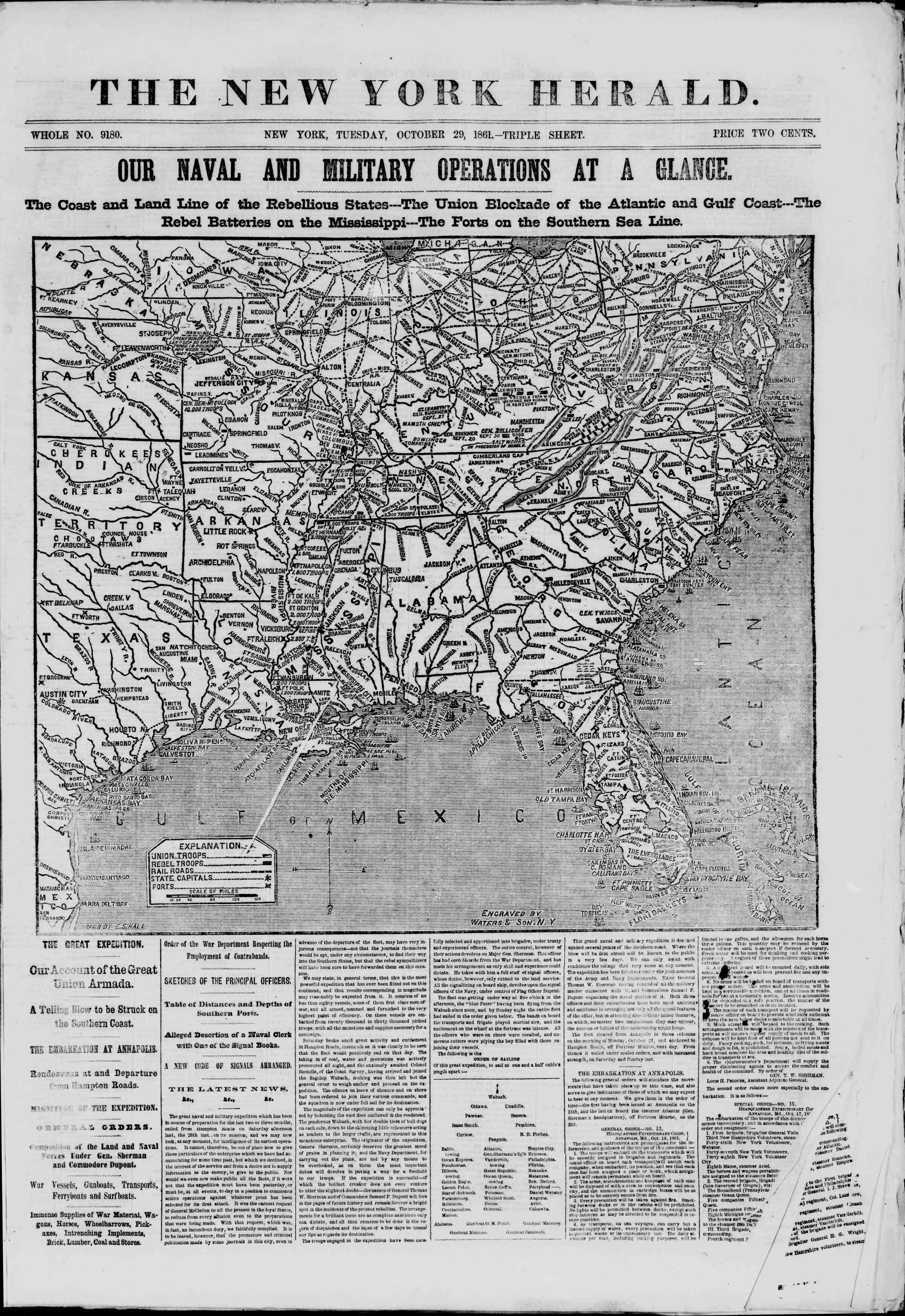 29 Ekim 1861 tarihli The New York Herald Gazetesi Sayfa 1