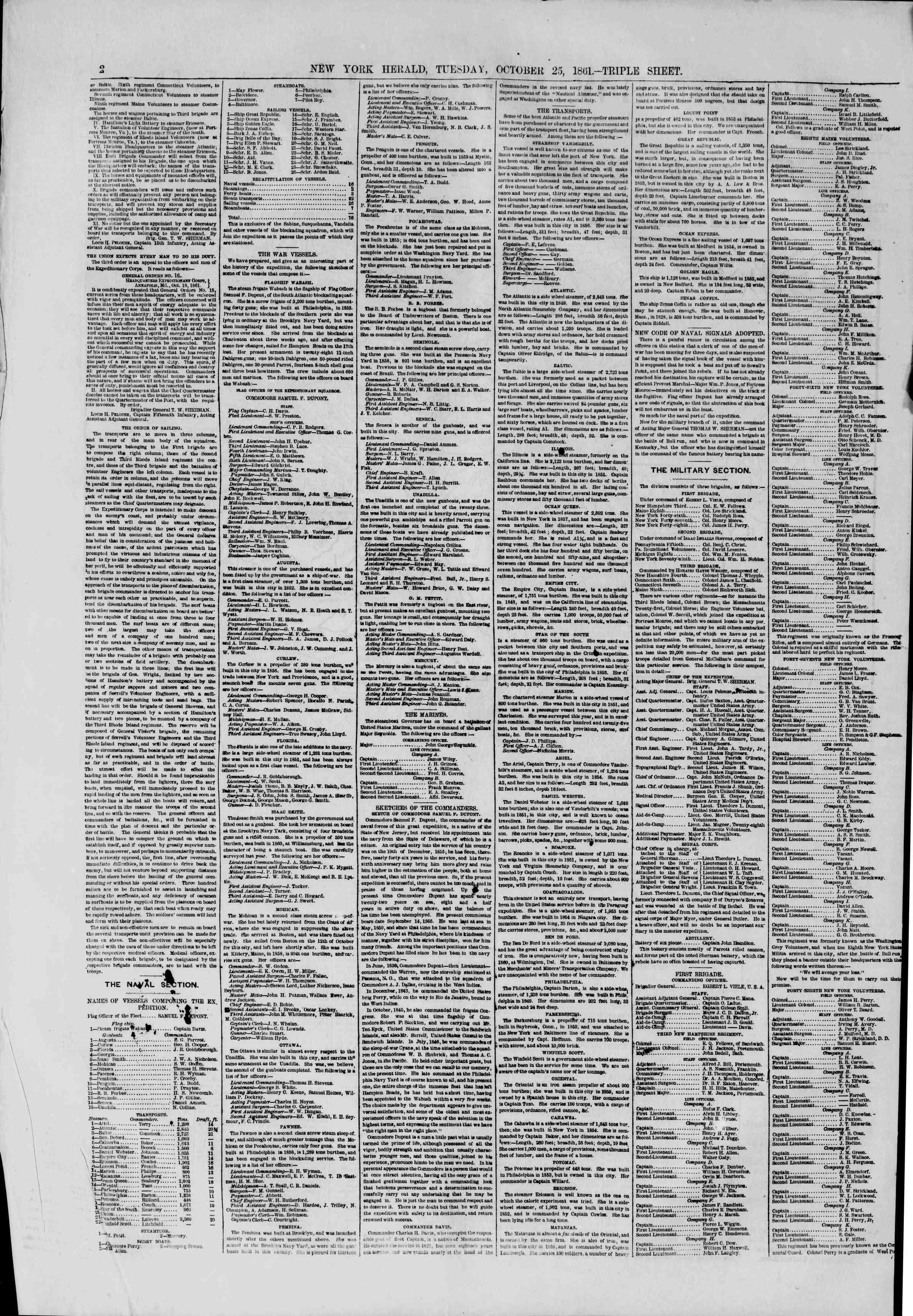 Newspaper of The New York Herald dated October 29, 1861 Page 2
