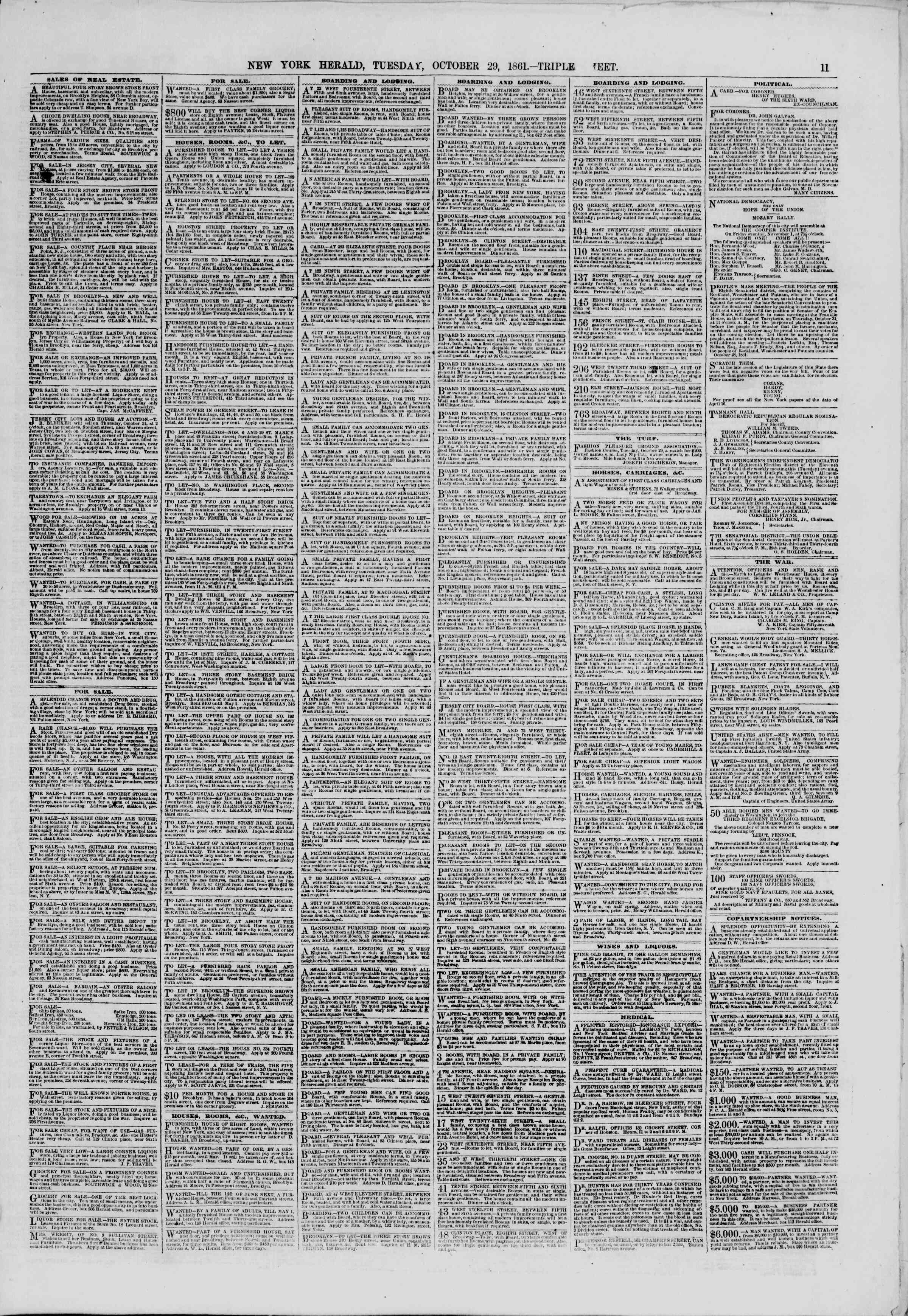 Newspaper of The New York Herald dated October 29, 1861 Page 11