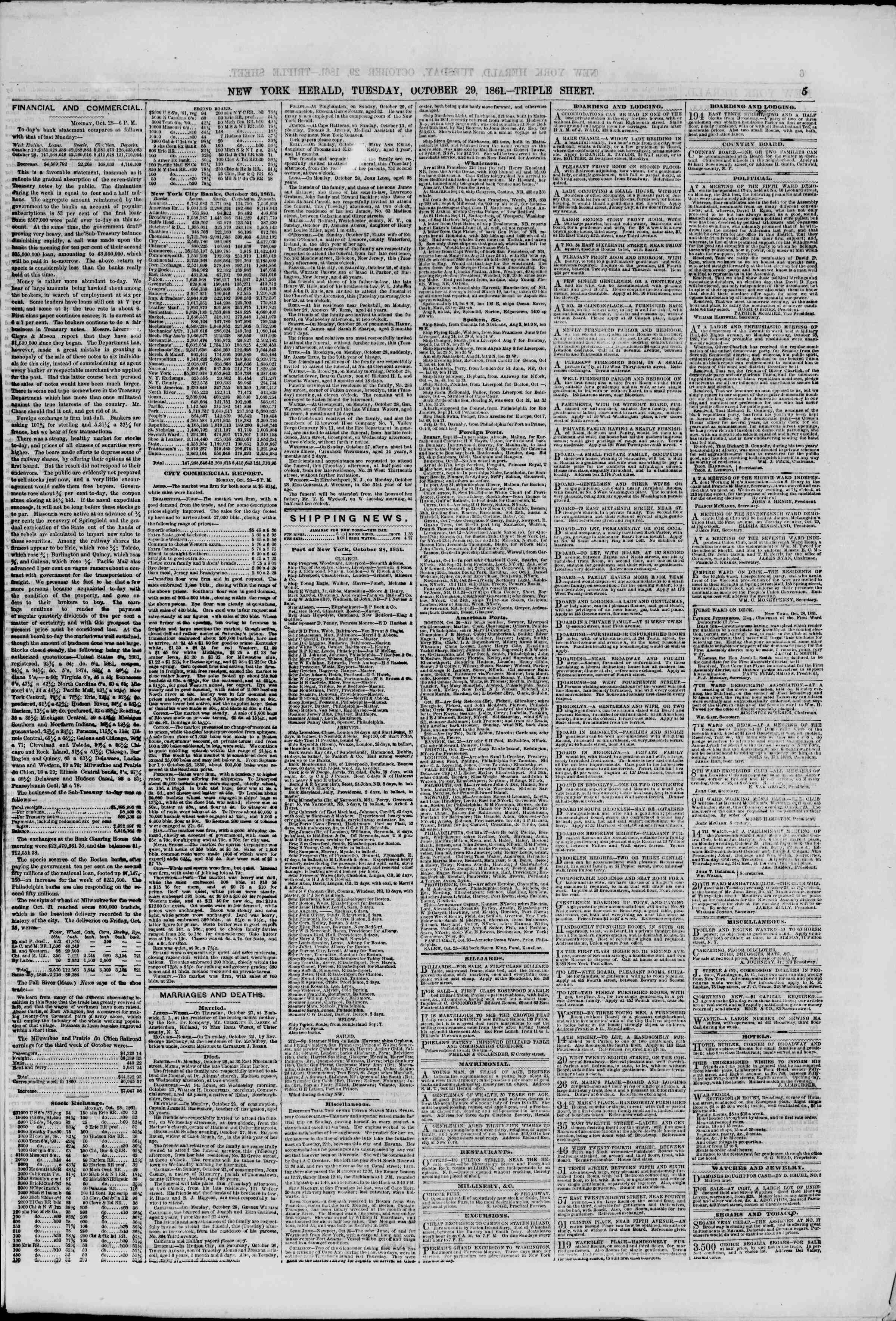 29 Ekim 1861 tarihli The New York Herald Gazetesi Sayfa 5