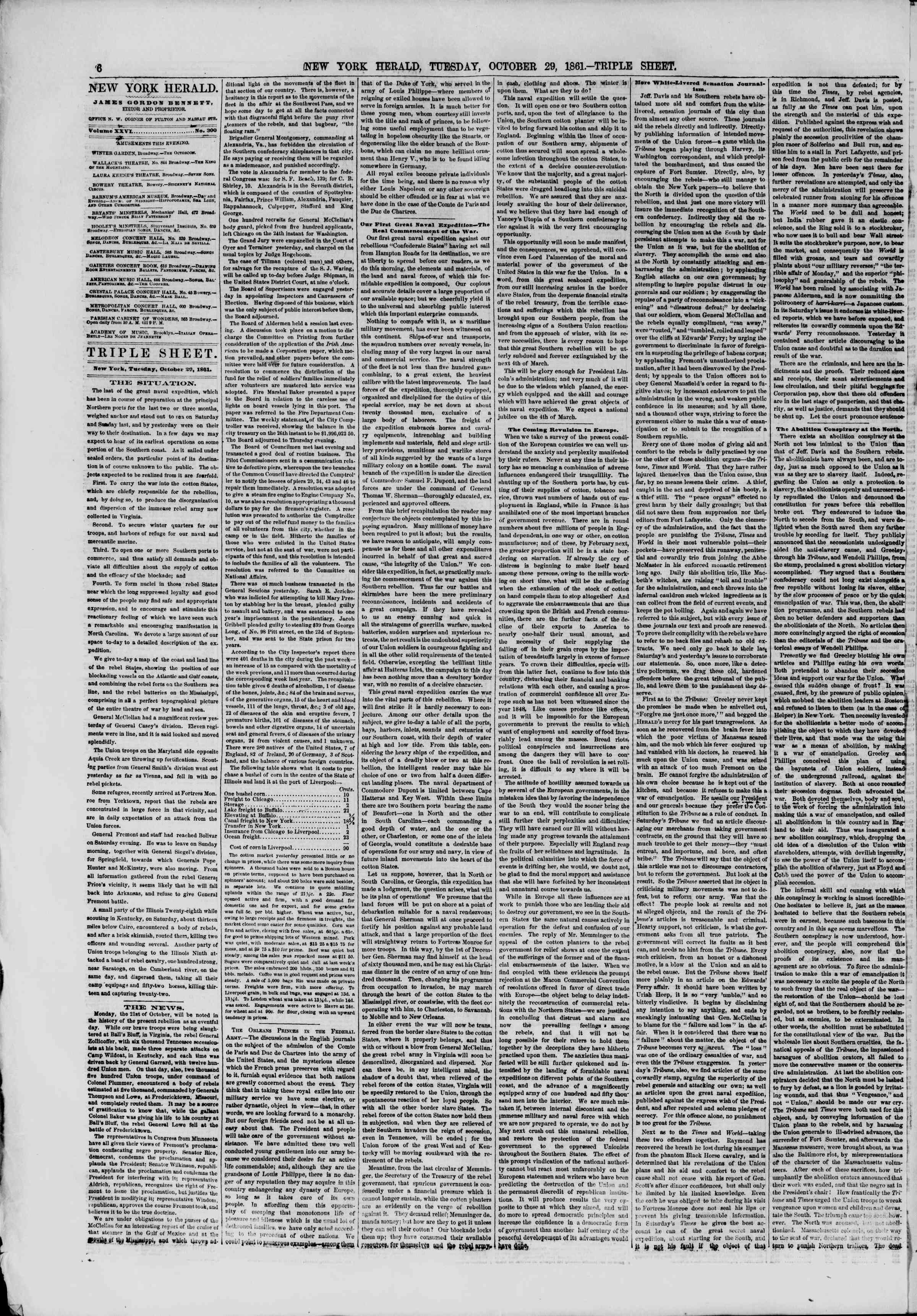 Newspaper of The New York Herald dated October 29, 1861 Page 6