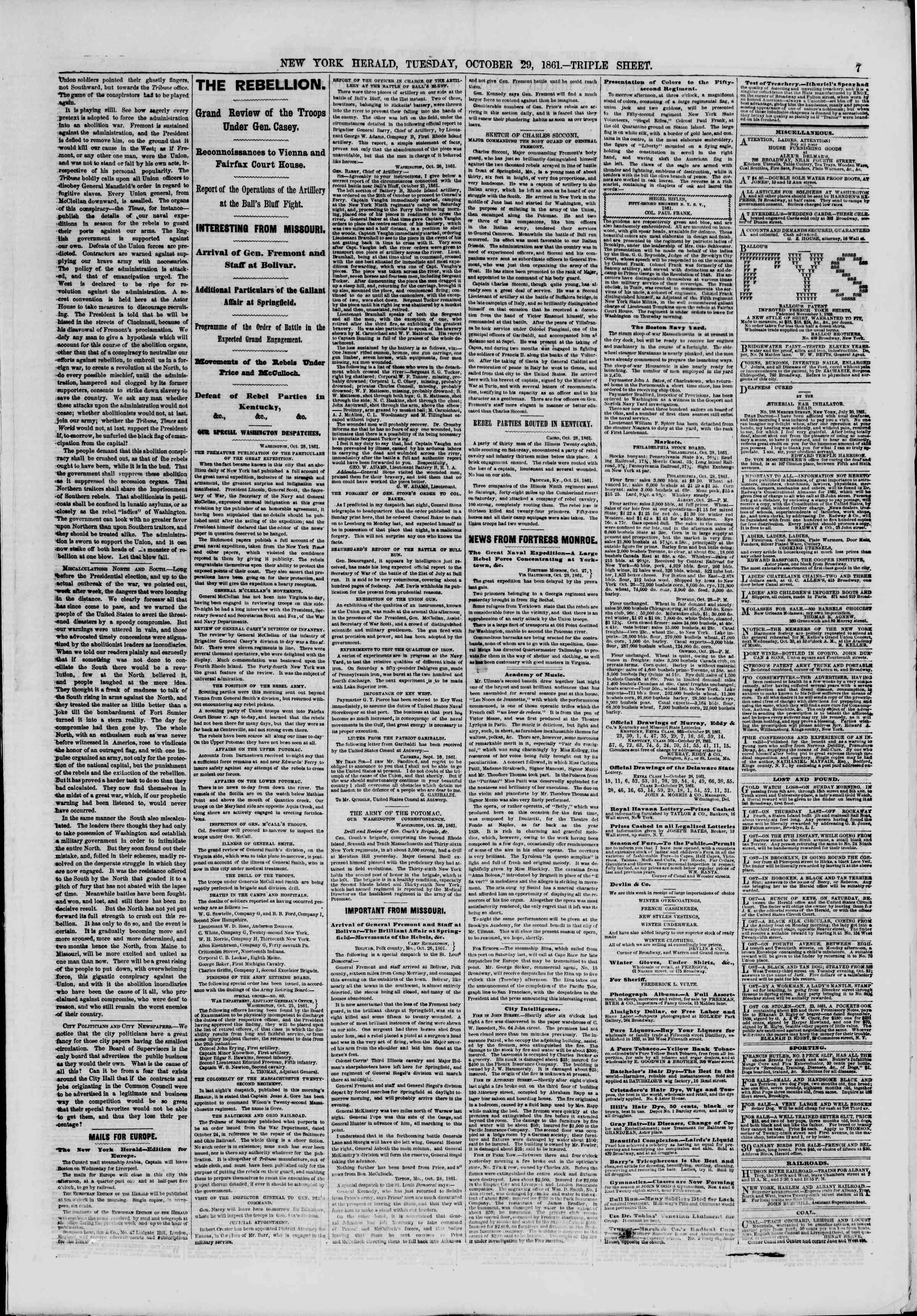 Newspaper of The New York Herald dated October 29, 1861 Page 7