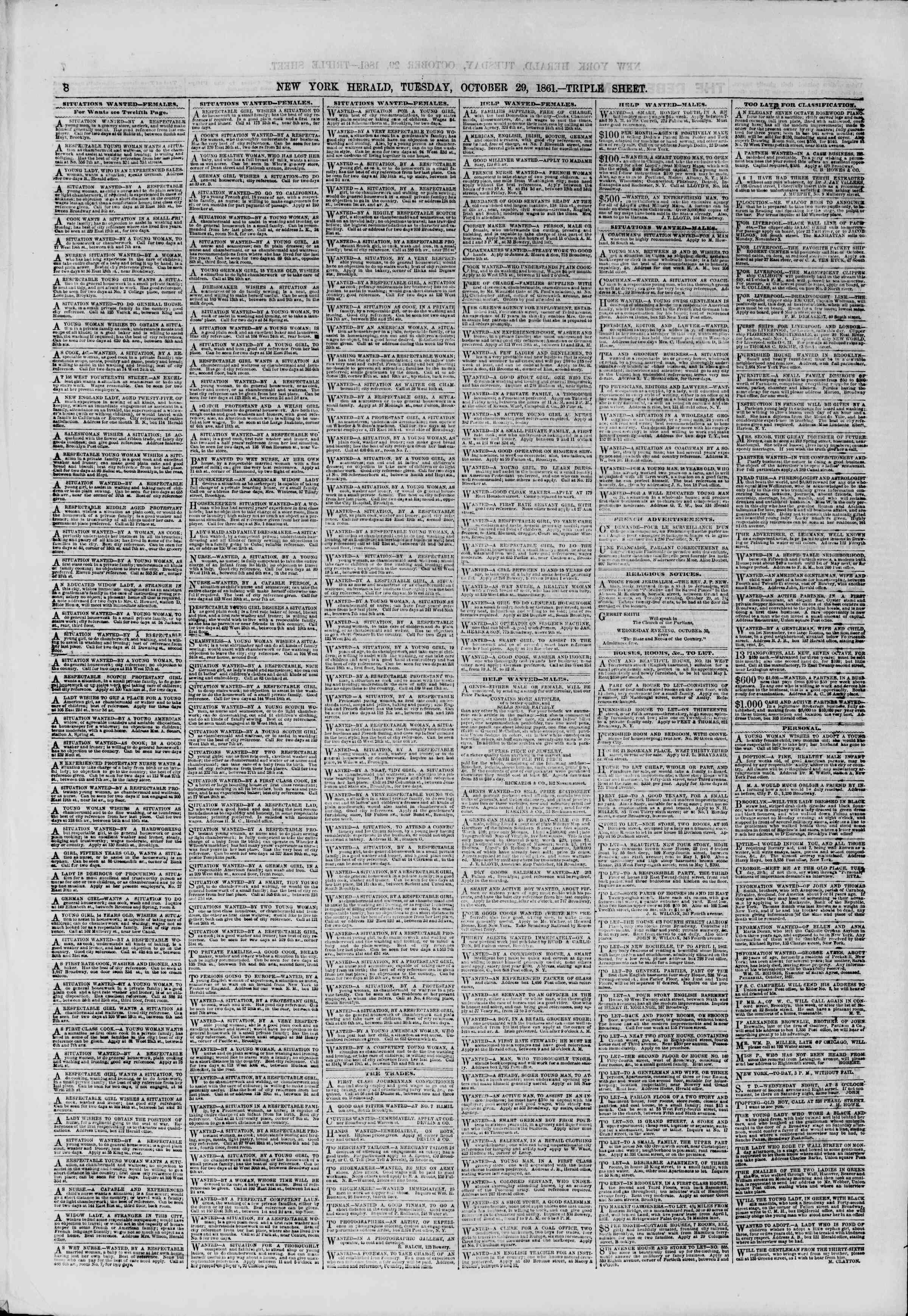 Newspaper of The New York Herald dated October 29, 1861 Page 8