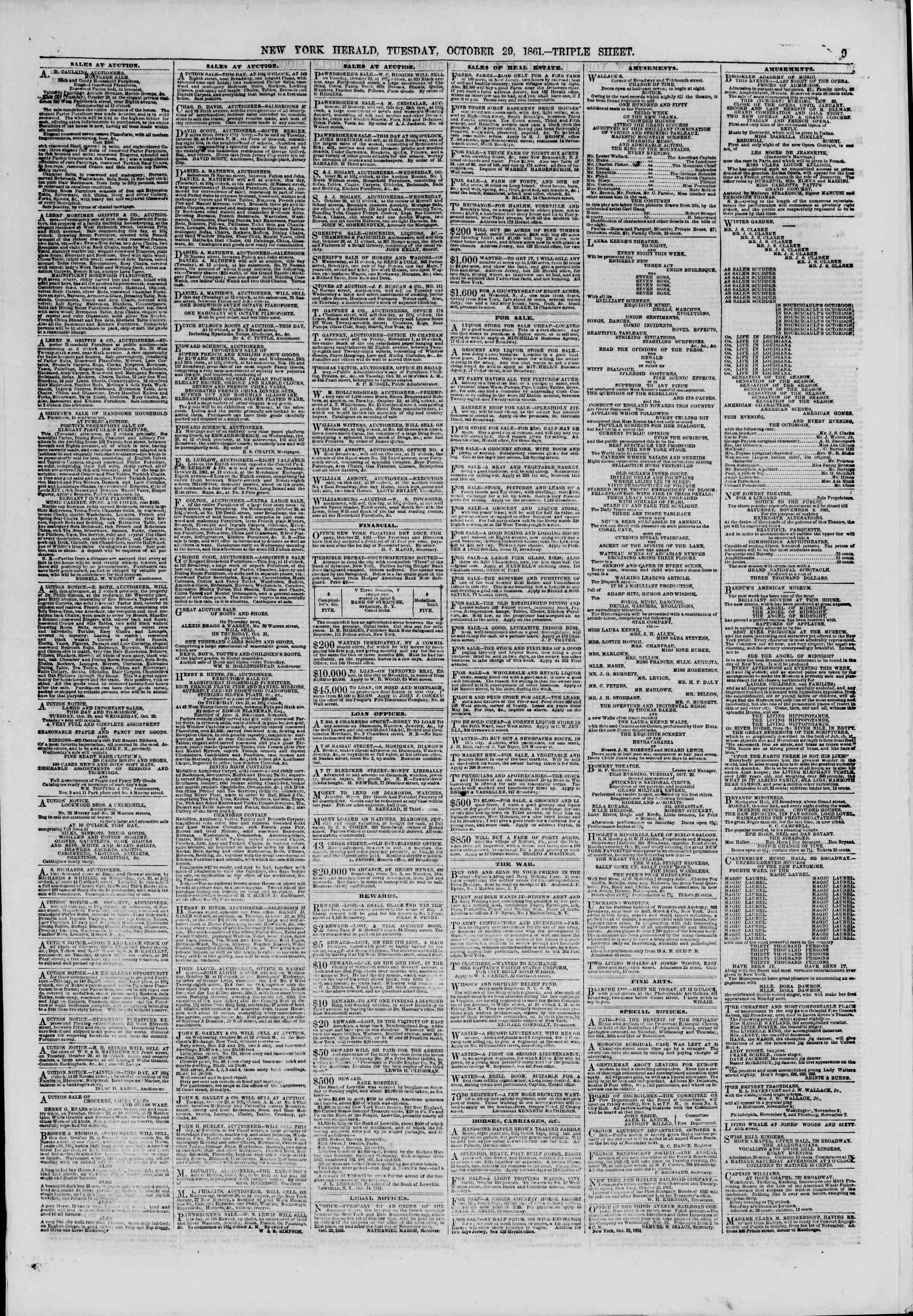 Newspaper of The New York Herald dated October 29, 1861 Page 9