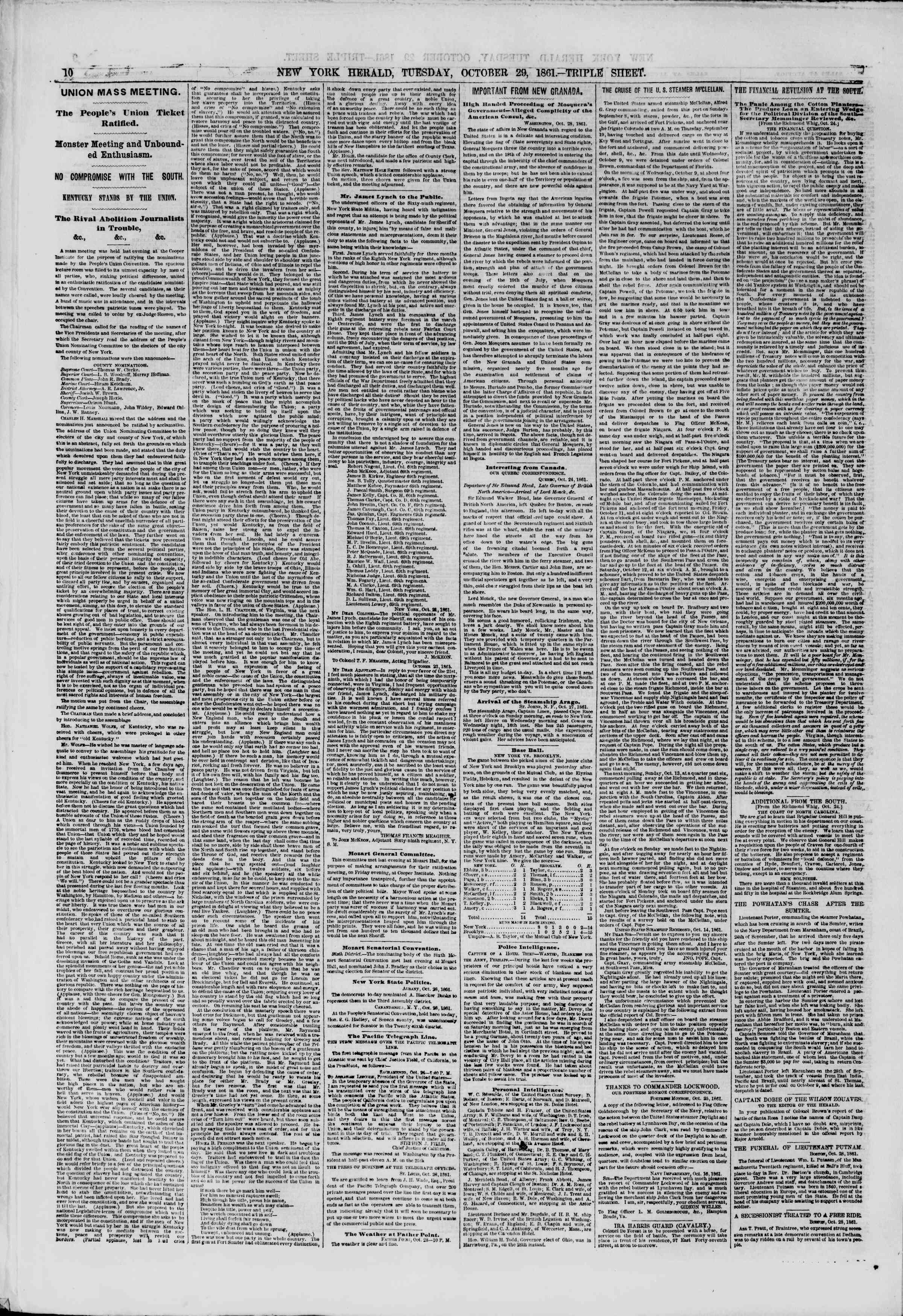 Newspaper of The New York Herald dated October 29, 1861 Page 10