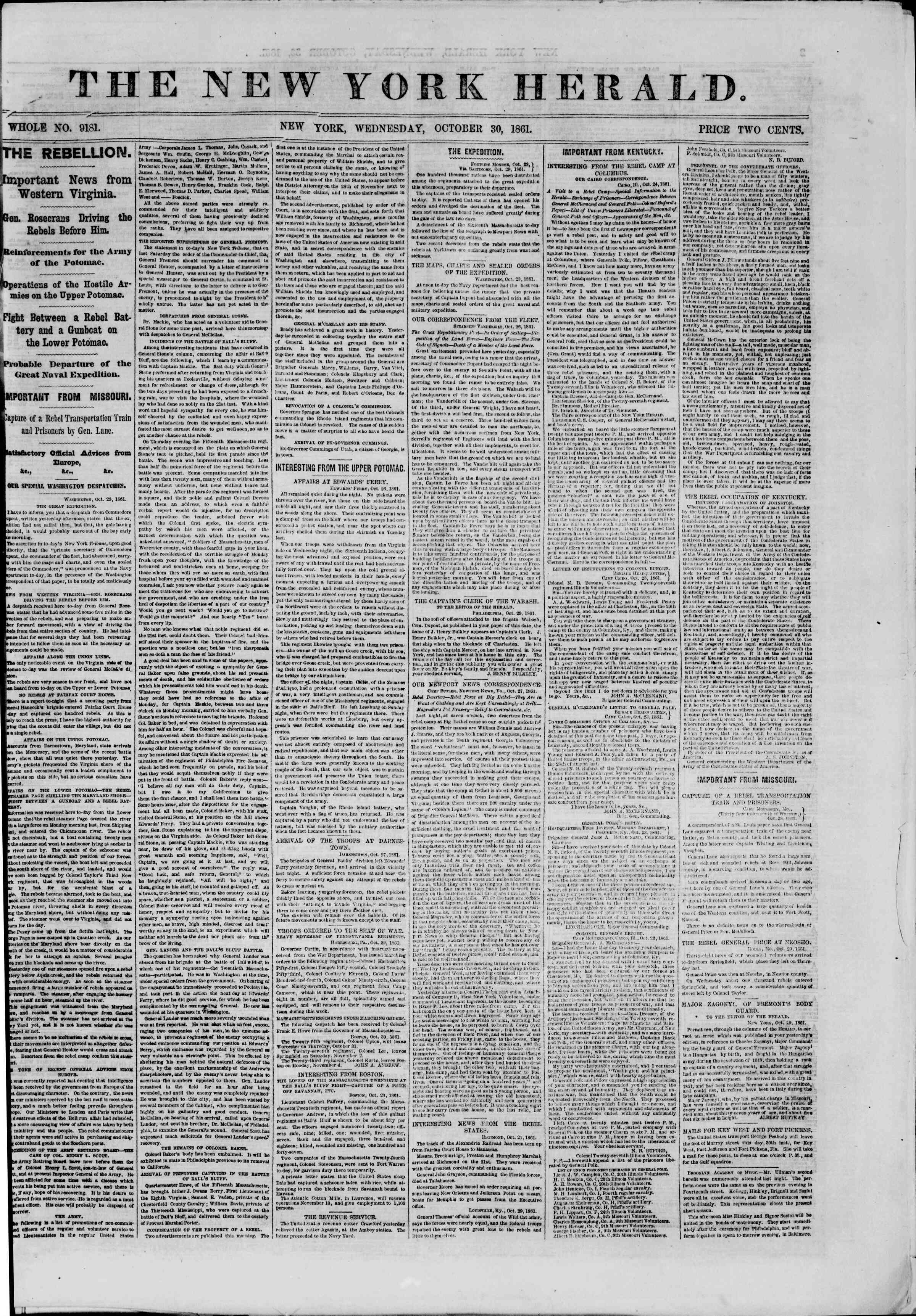 30 Ekim 1861 tarihli The New York Herald Gazetesi Sayfa 1