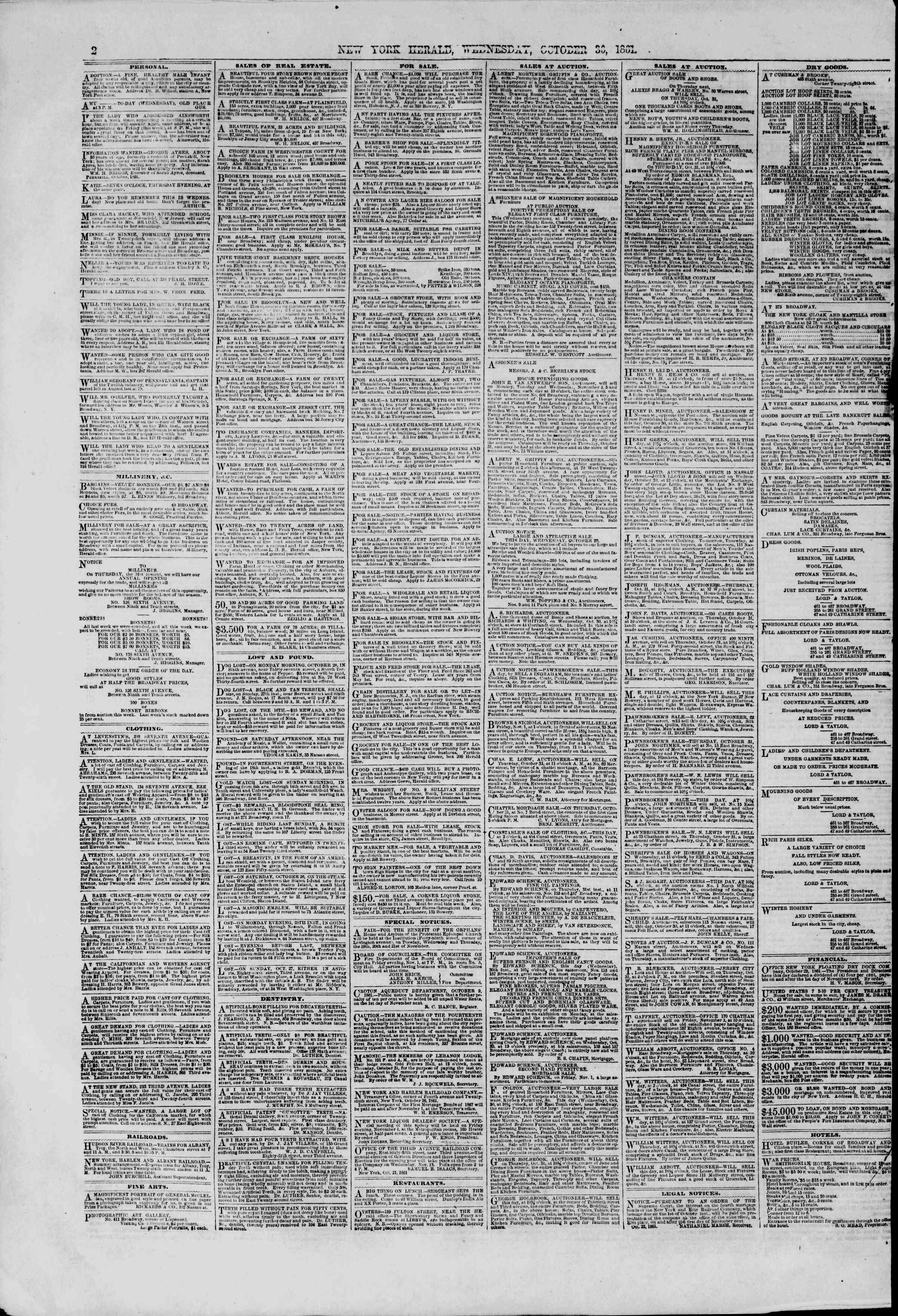 Newspaper of The New York Herald dated October 30, 1861 Page 2