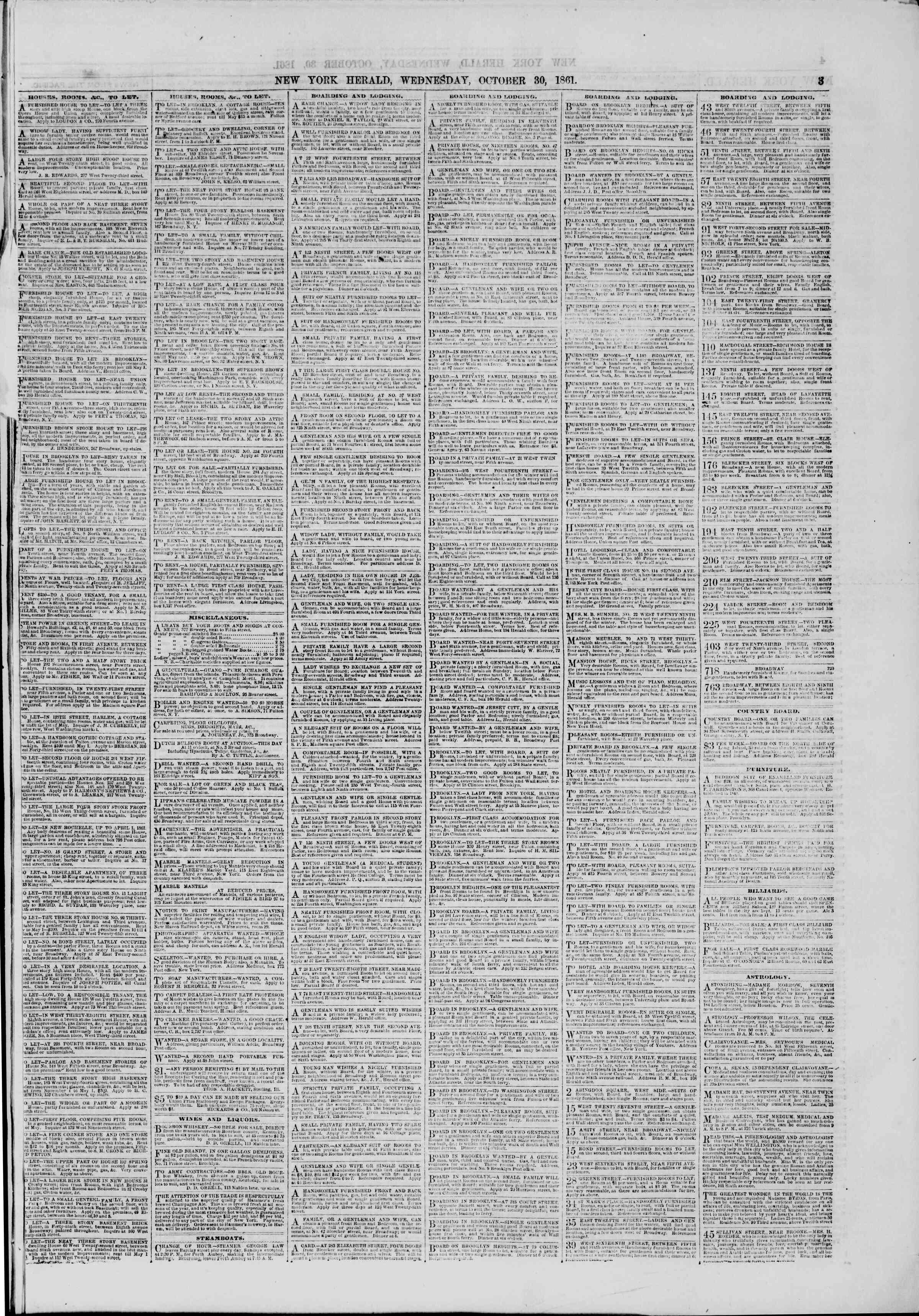 30 Ekim 1861 tarihli The New York Herald Gazetesi Sayfa 3