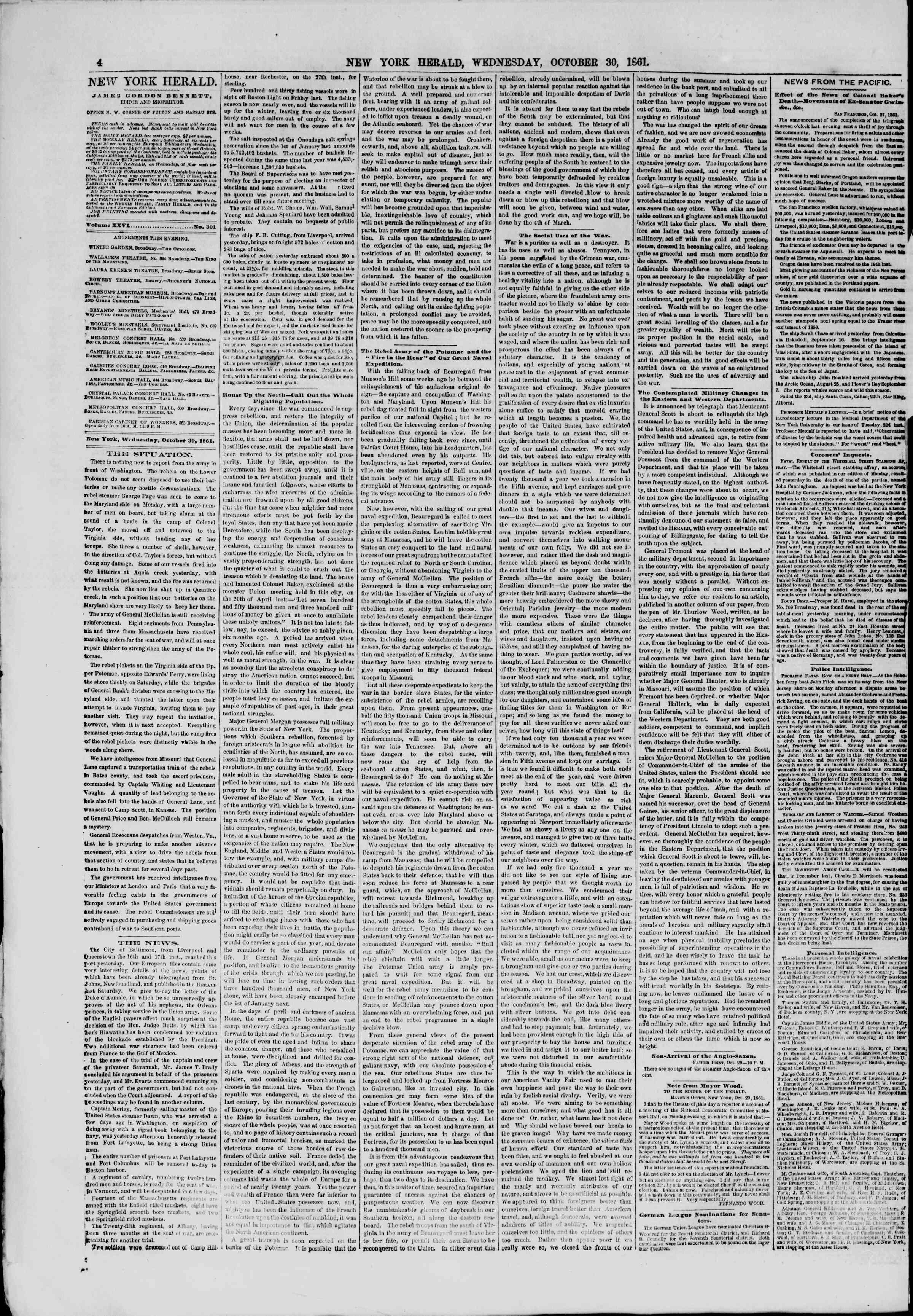 30 Ekim 1861 tarihli The New York Herald Gazetesi Sayfa 4