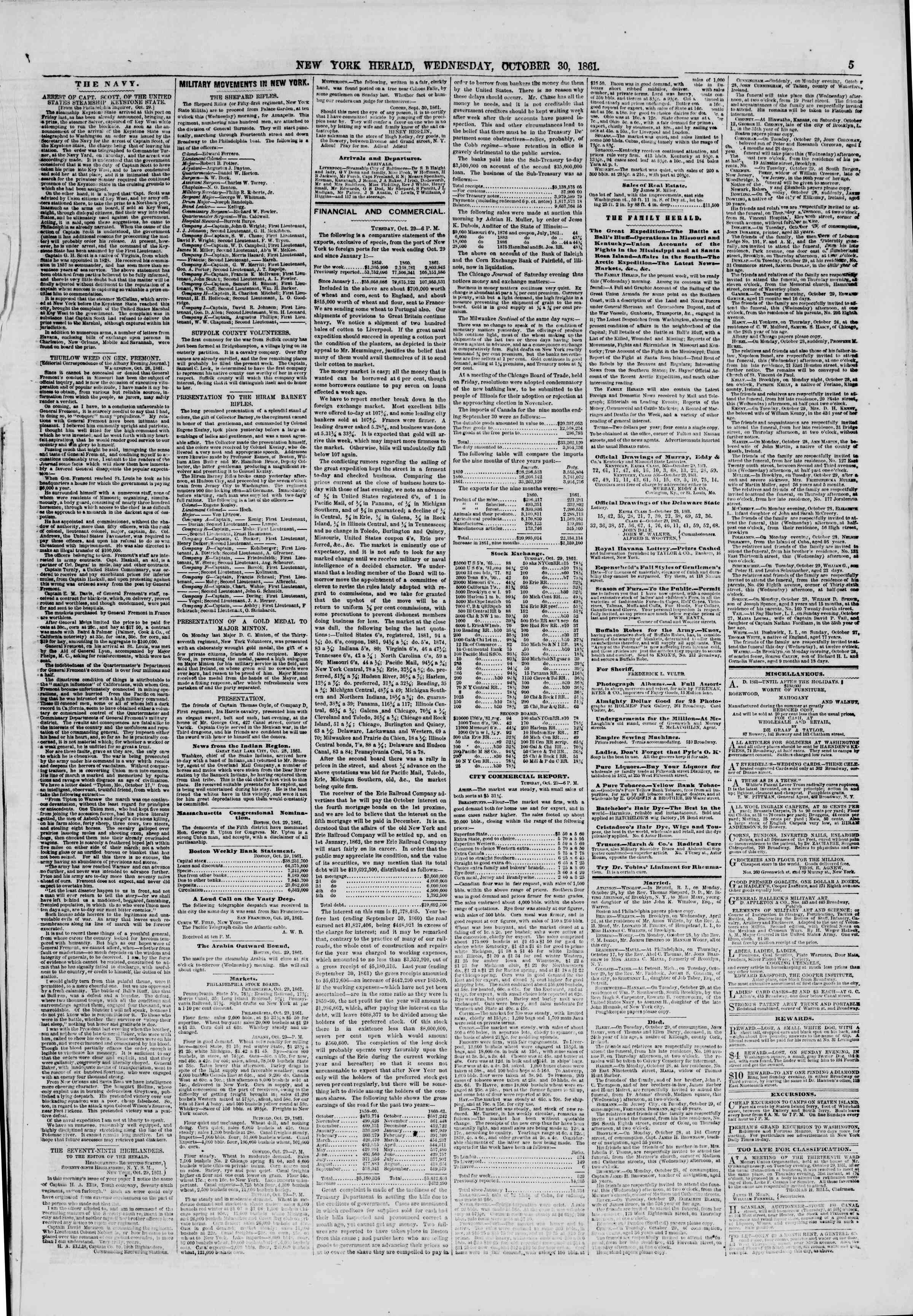 Newspaper of The New York Herald dated October 30, 1861 Page 5