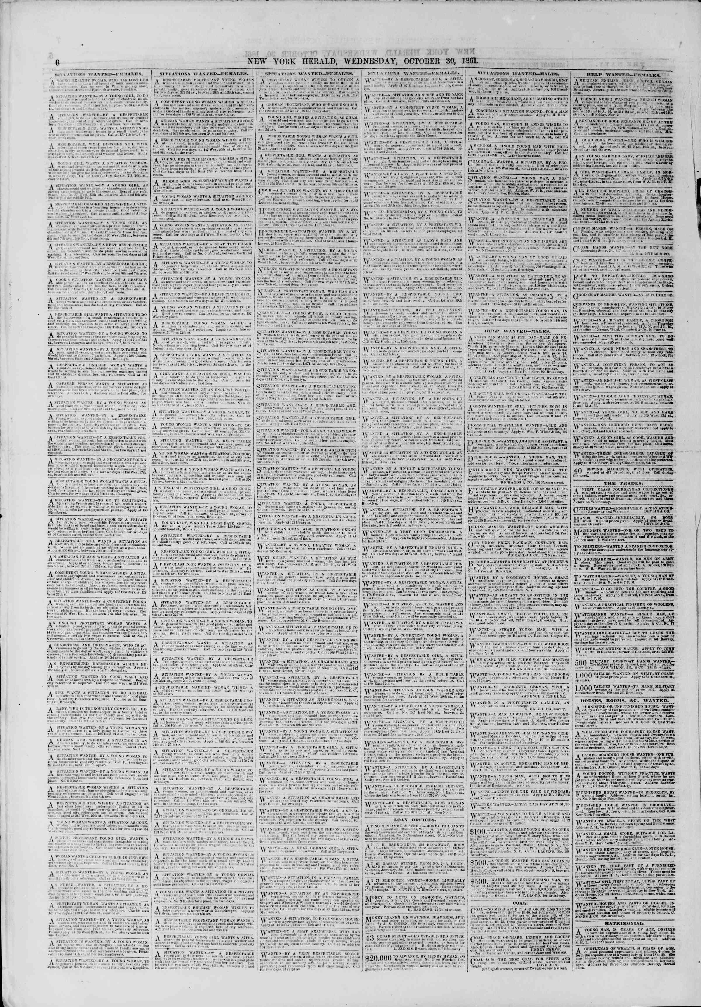 Newspaper of The New York Herald dated October 30, 1861 Page 6