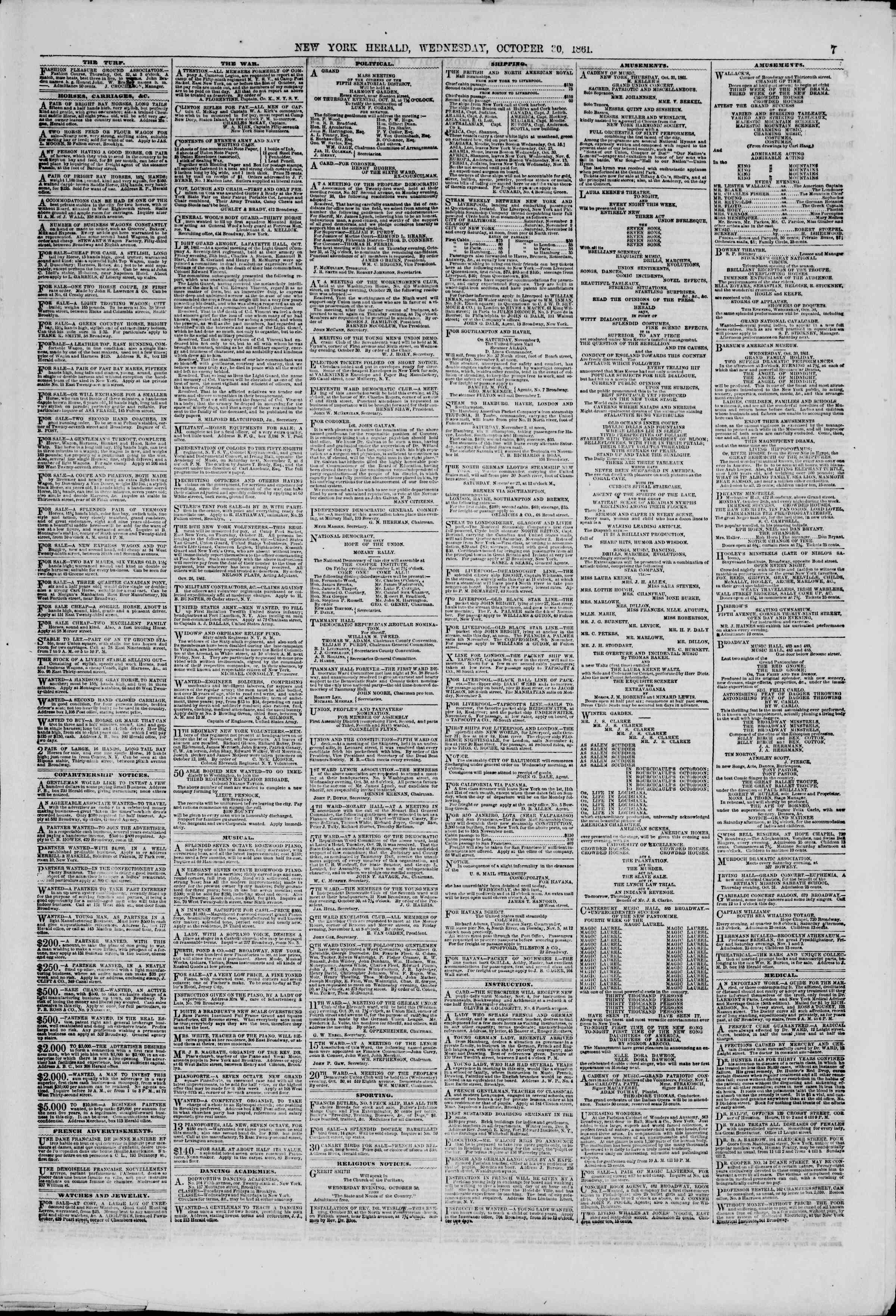 Newspaper of The New York Herald dated October 30, 1861 Page 7