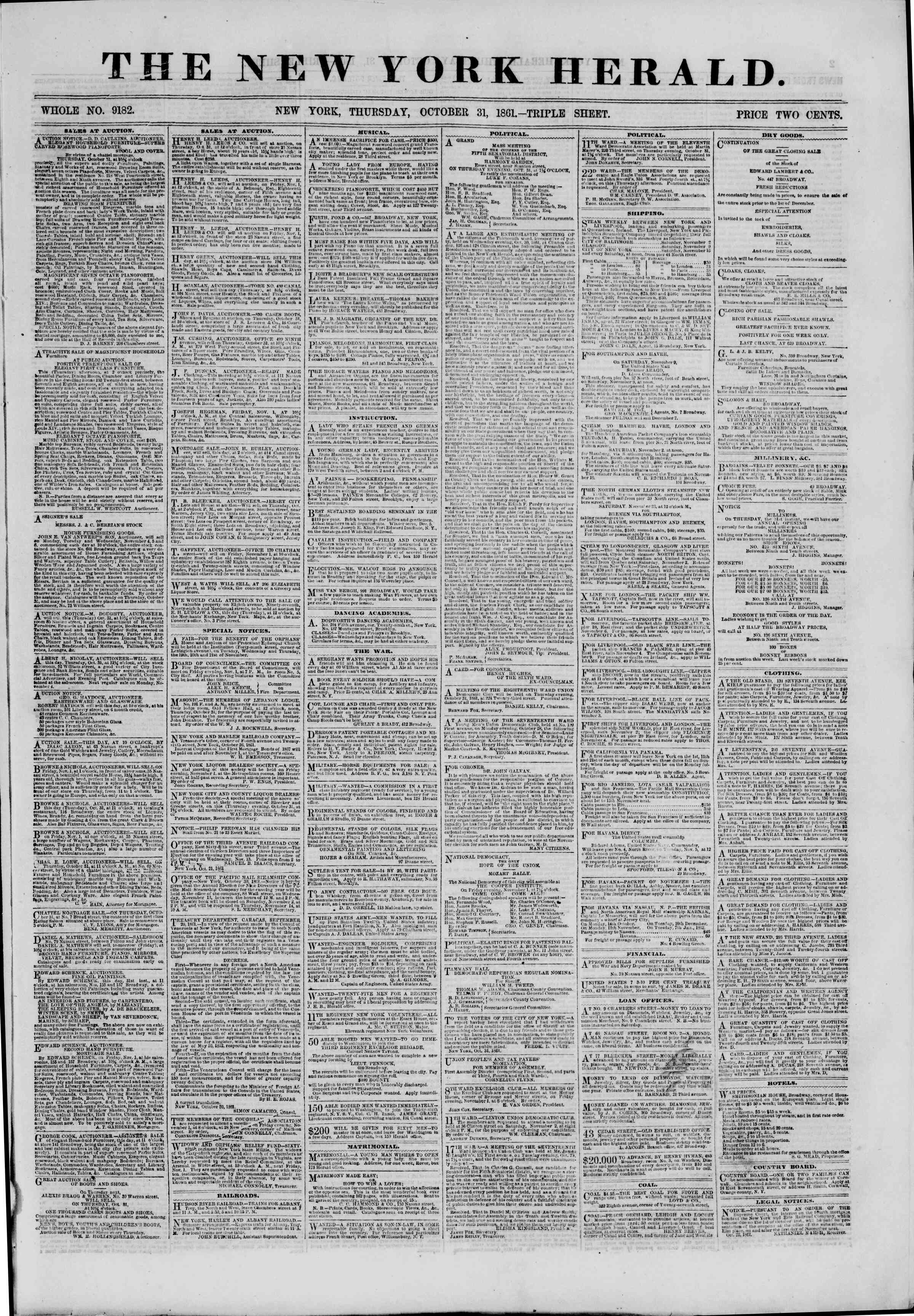 Newspaper of The New York Herald dated October 31, 1861 Page 1
