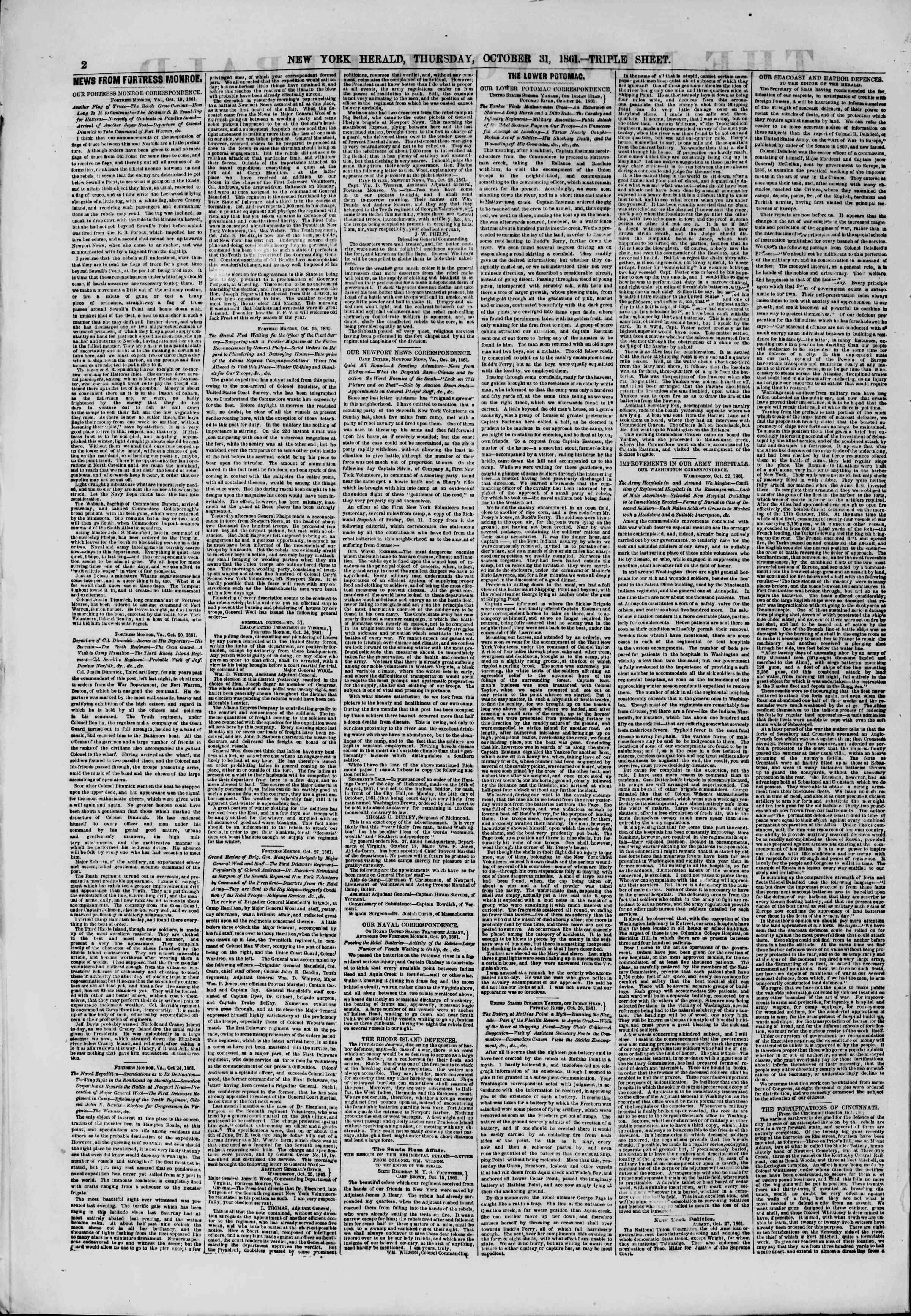 Newspaper of The New York Herald dated October 31, 1861 Page 2