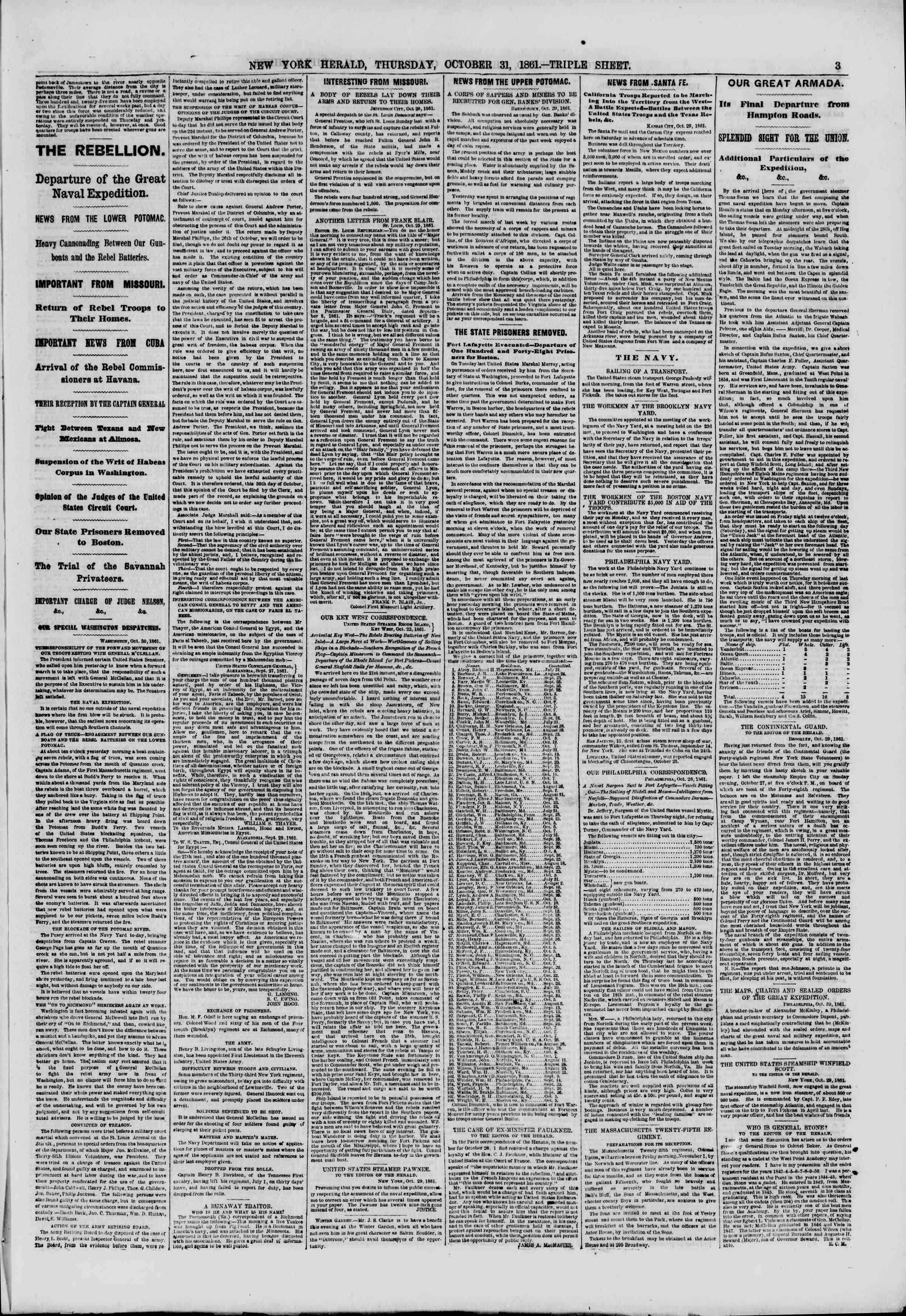 Newspaper of The New York Herald dated October 31, 1861 Page 3