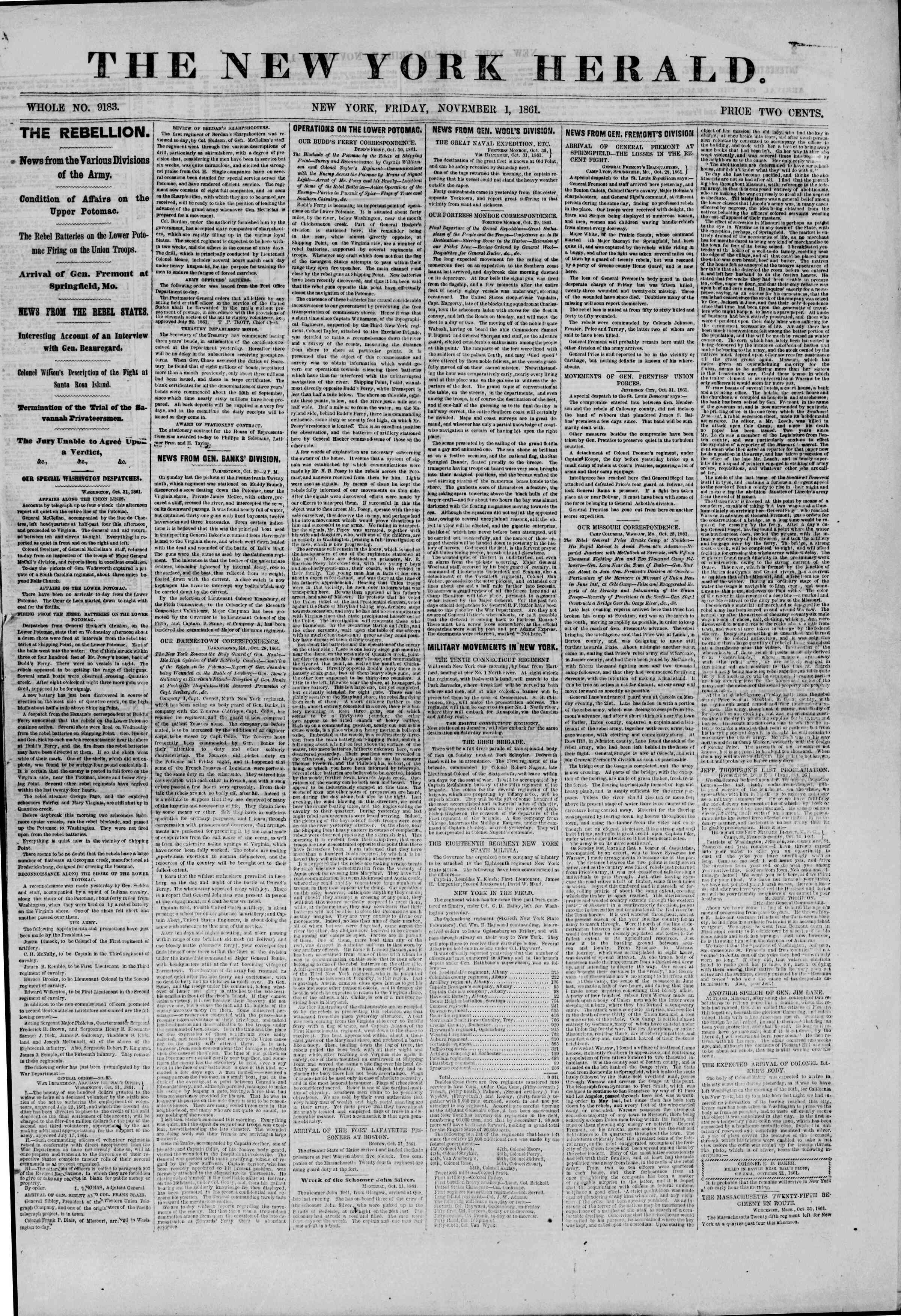 Newspaper of The New York Herald dated November 1, 1861 Page 1