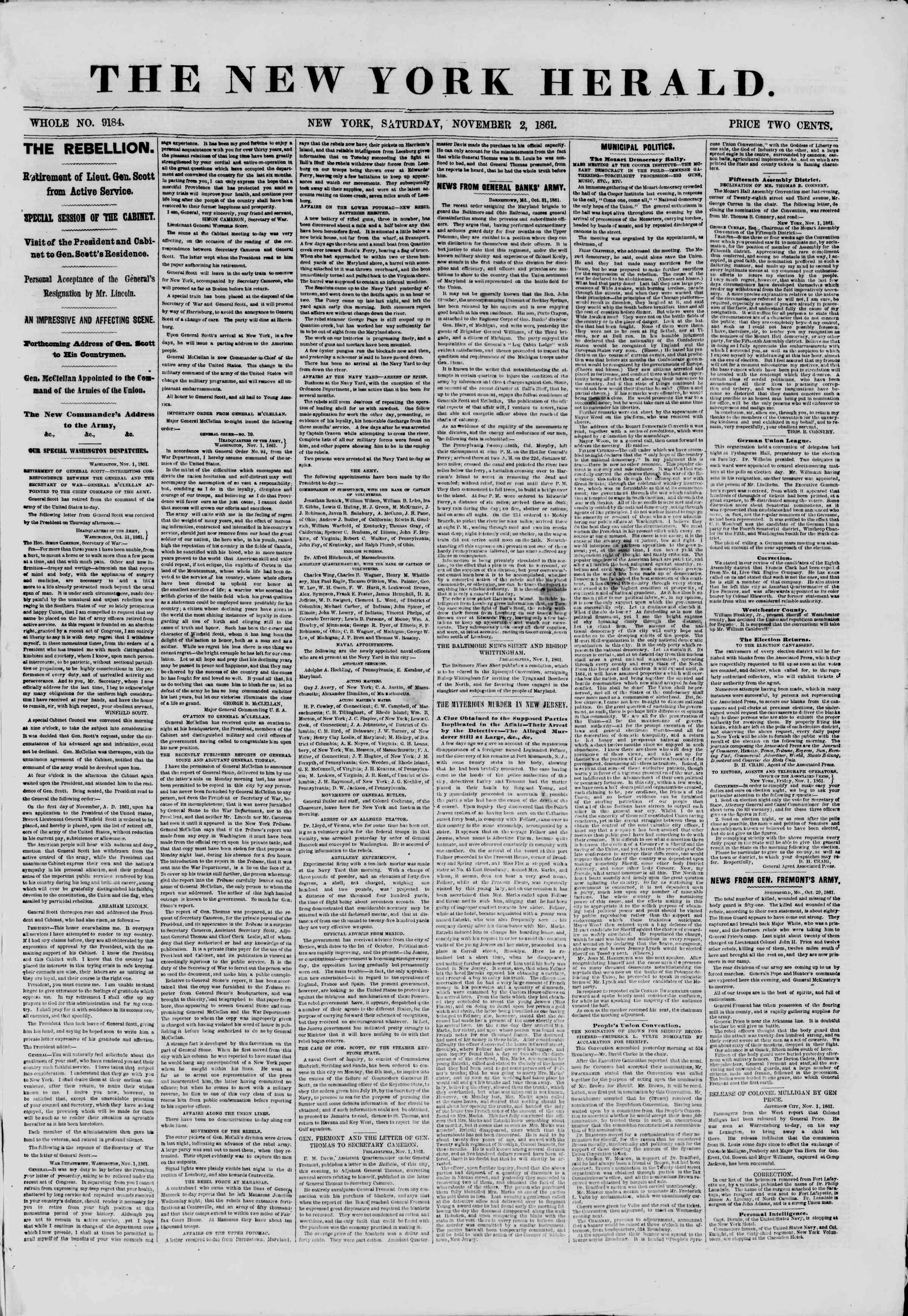 Newspaper of The New York Herald dated November 2, 1861 Page 1