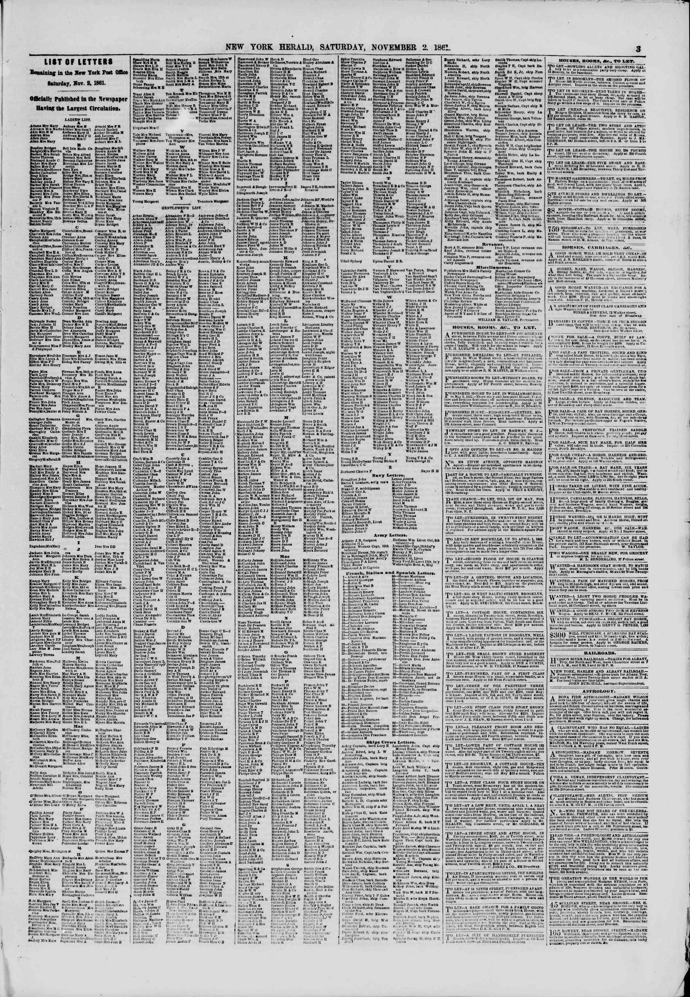 Newspaper of The New York Herald dated November 2, 1861 Page 3